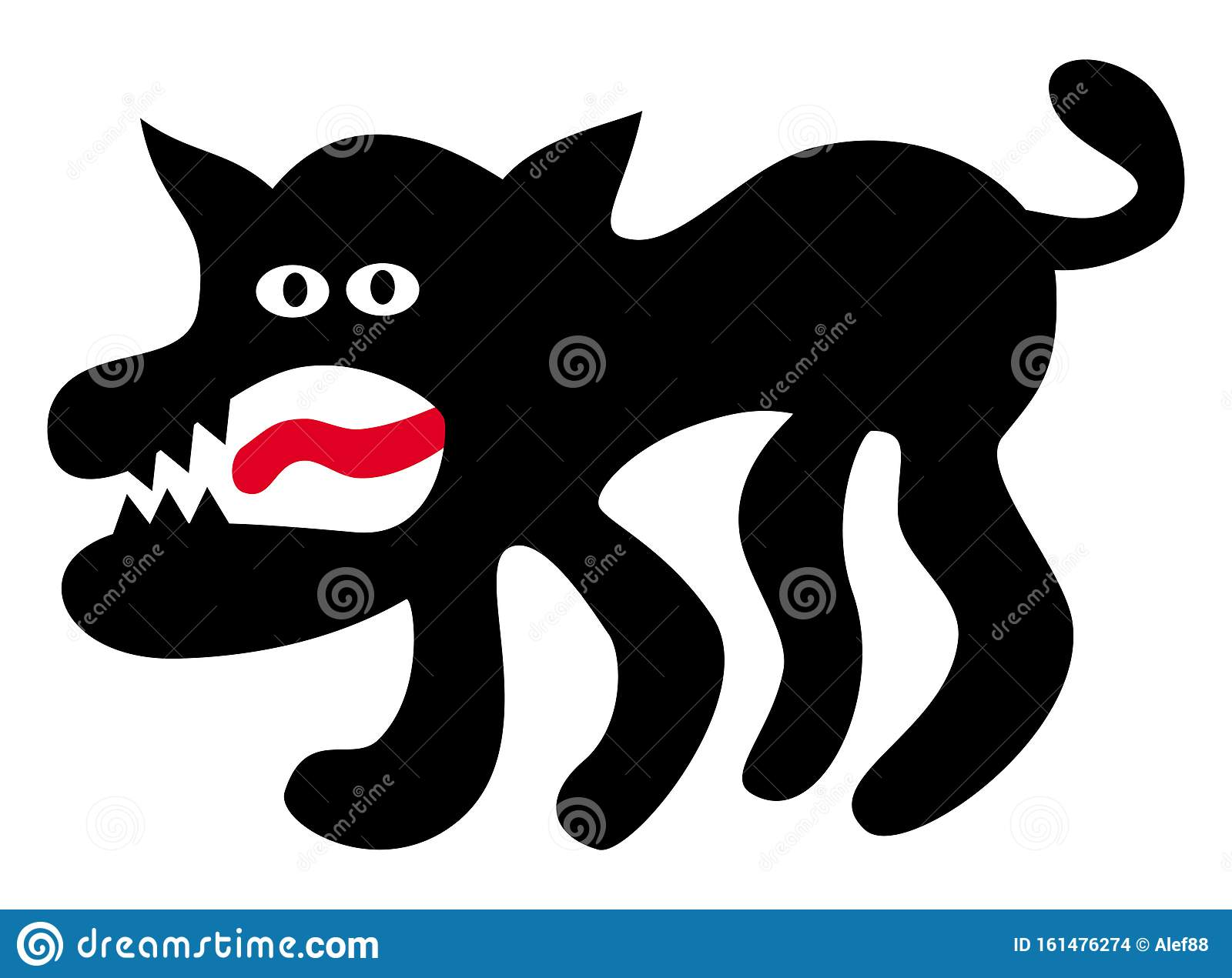Funny Cartoon Dog Or Wolf With Toothy Mouth And Red Tongue Horror