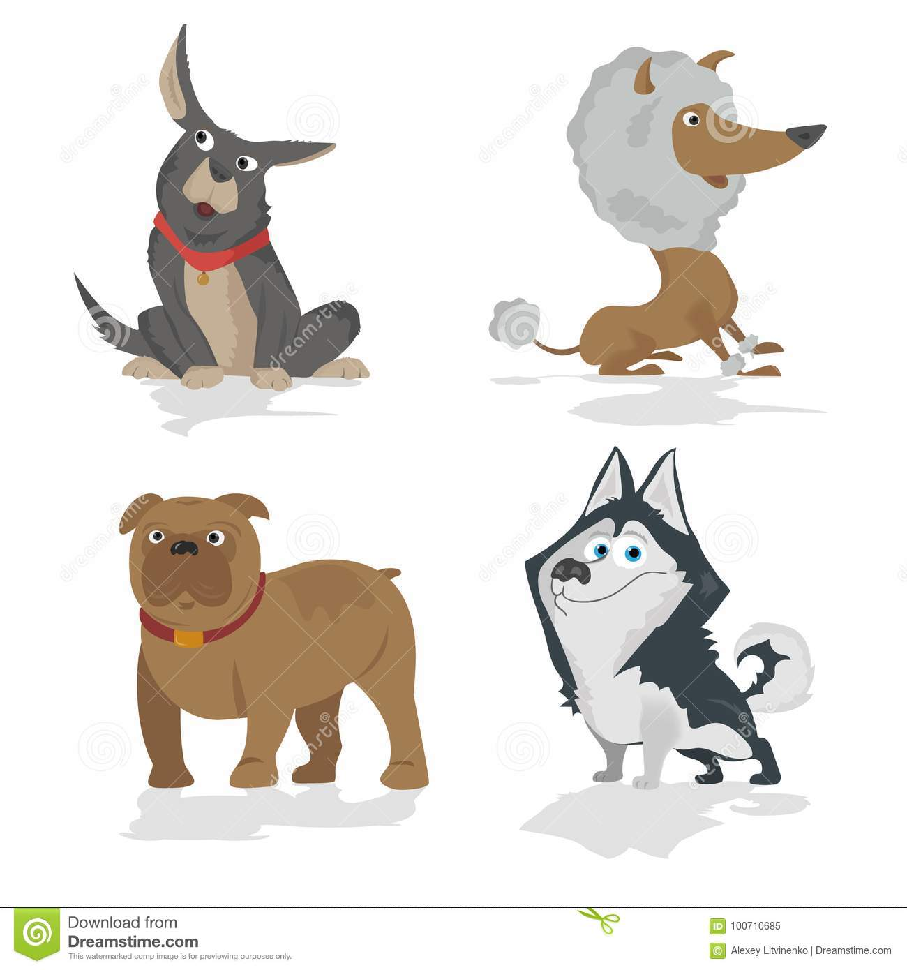 Funny Cartoon Dogs Characters Different Breads Doggy Puppy