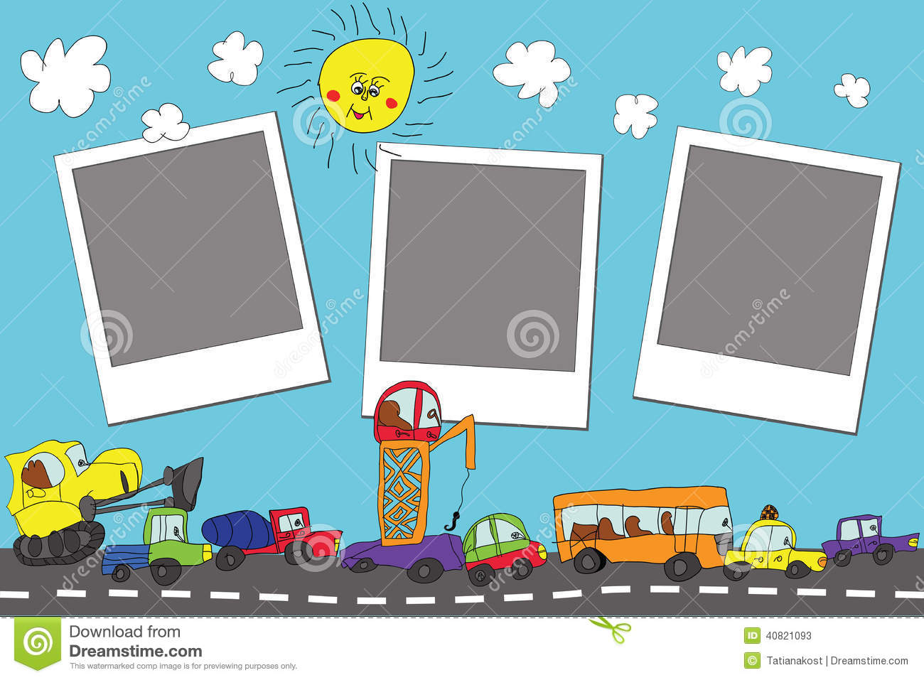 Funny Cartoon Doodle Photo Frame.Child's Hand Draw Cars ...