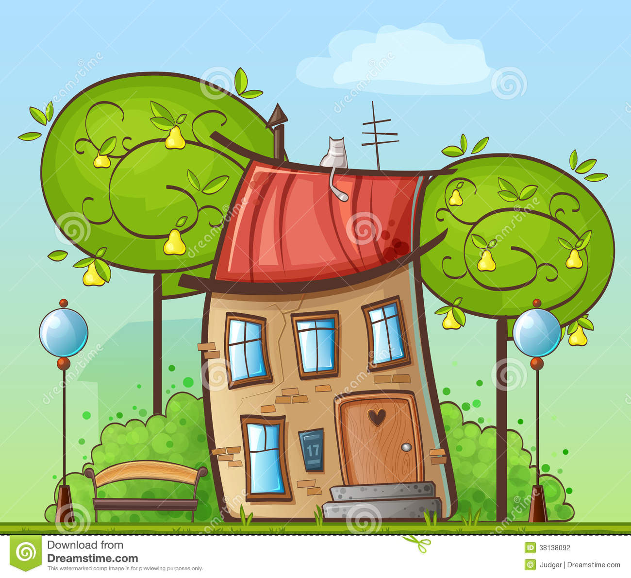 Funny cartoon drawing house in the courtyard wit stock for Disegno di una casa