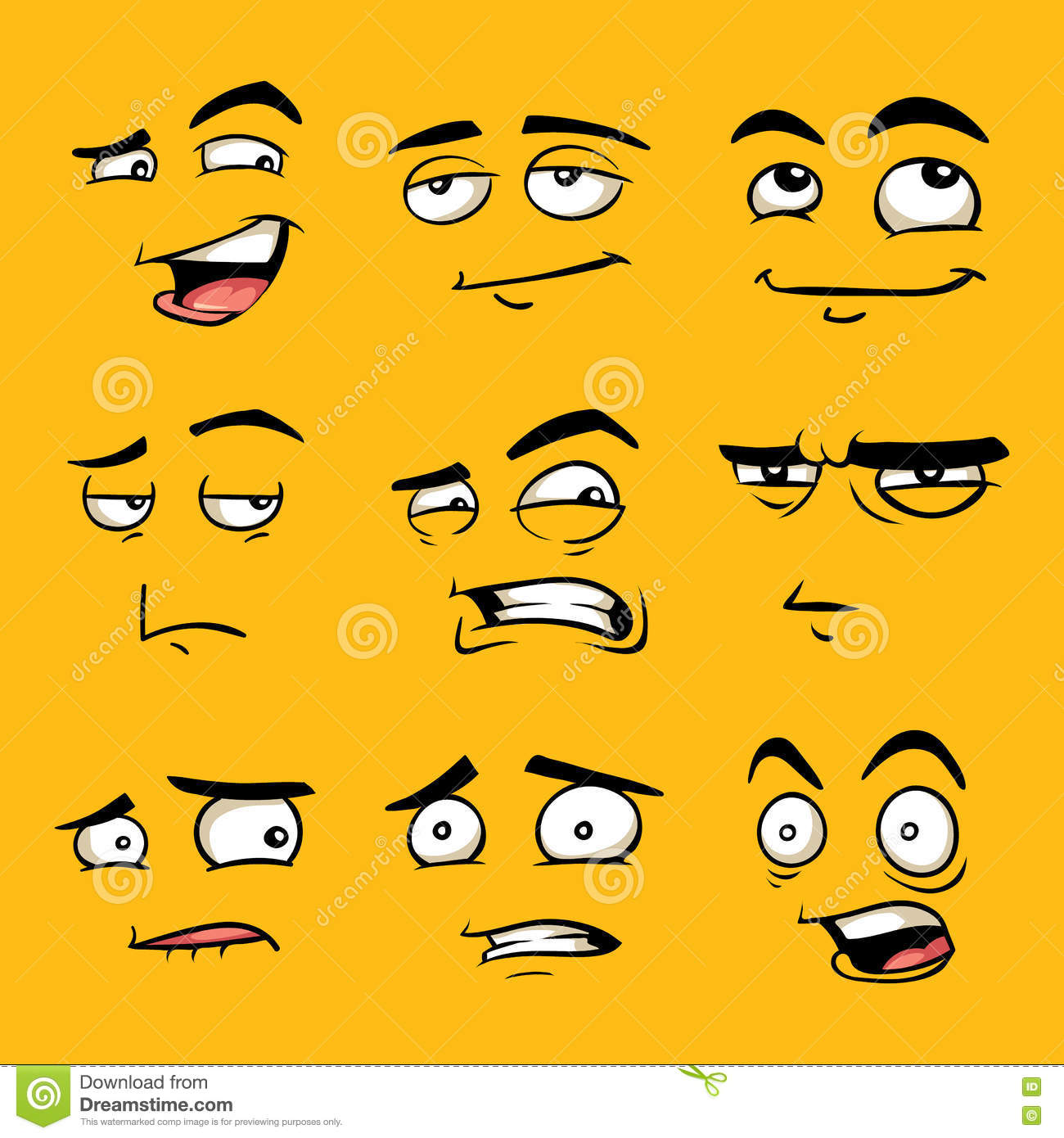 funny cartoon faces with emotions stock vector