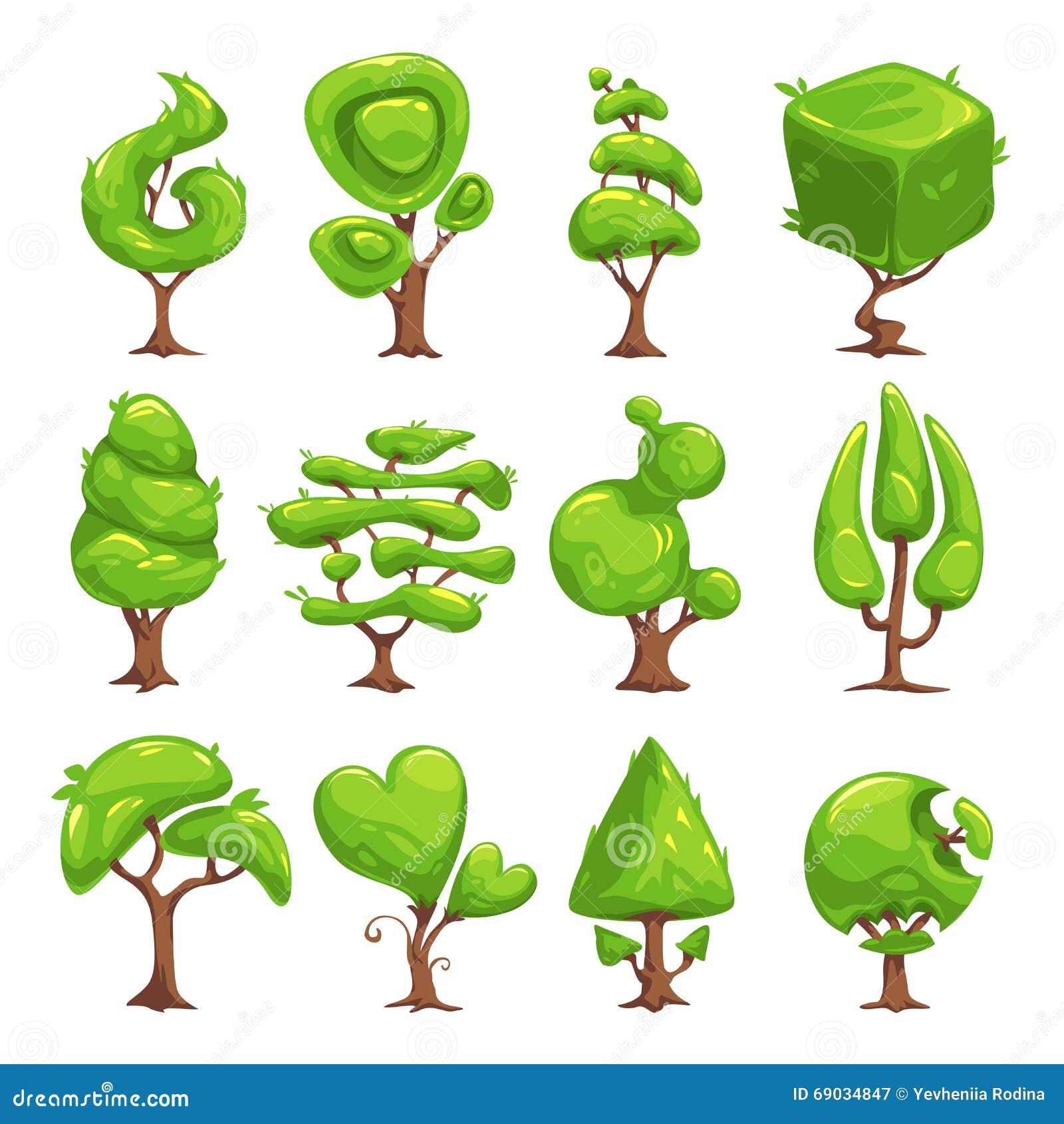 Funny Cartoon Fantasy Shape Tree Set Stock Vector - Image ...
