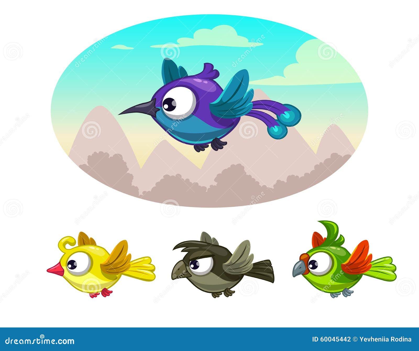 Stock Illustration Funny Cartoon Flying Different Birds Illustration I...