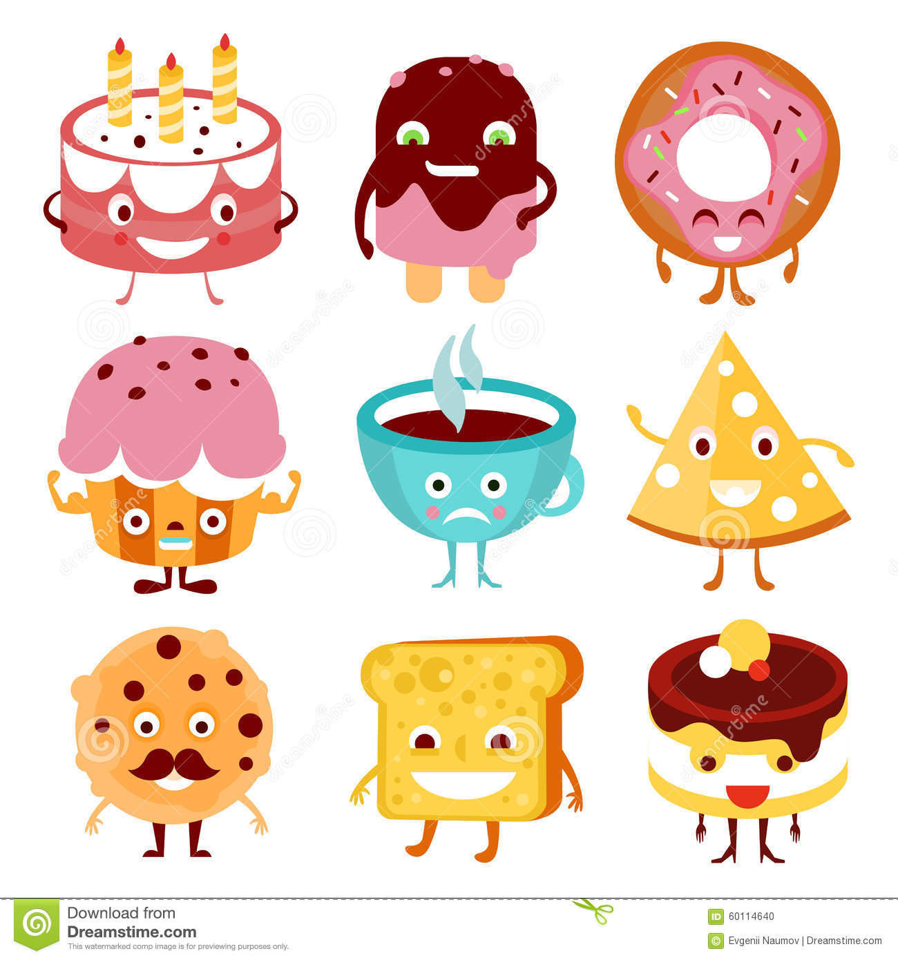 cartoon food drink funny vector cup sweets illustration preview happy
