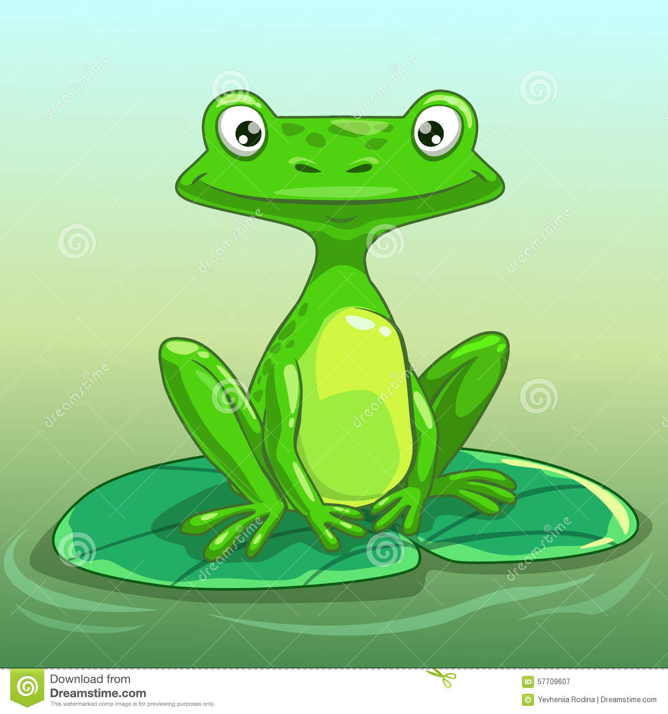 Funny Cartoon Frog Stock Illustration - Image: 57709607