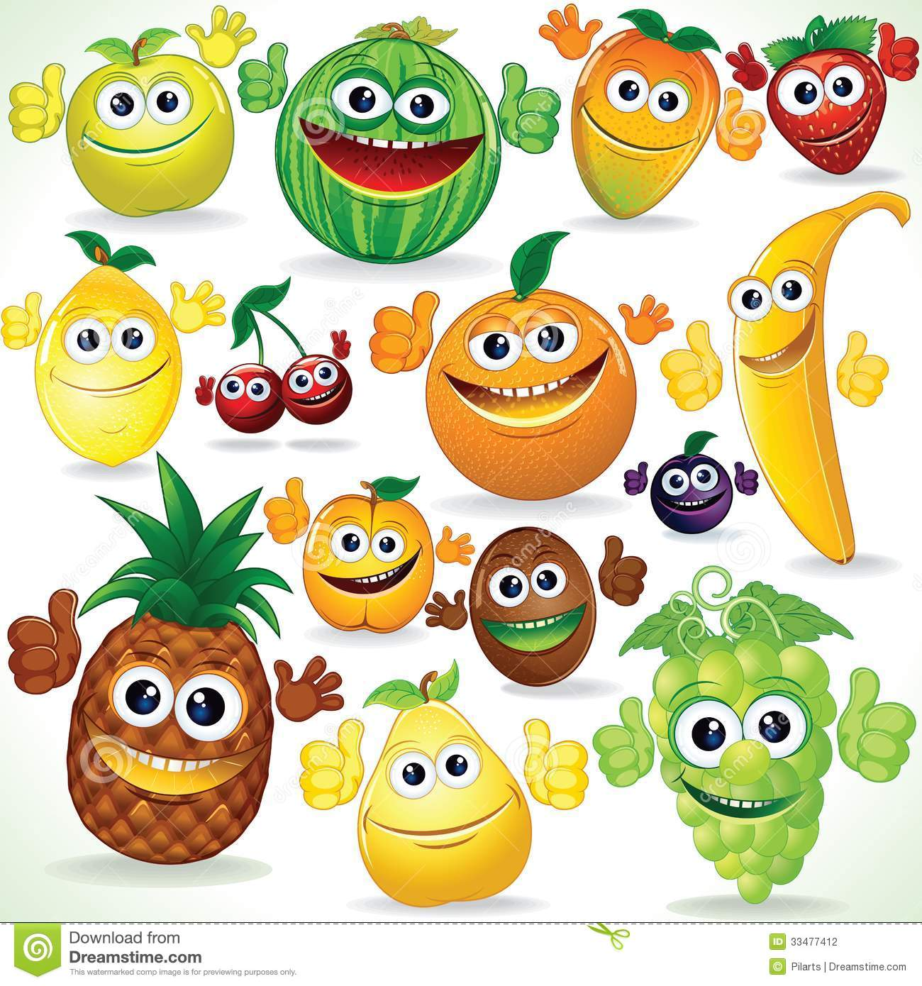 Funny Cartoon Fruits. Colorful Clip Art Stock Photography - Image ...