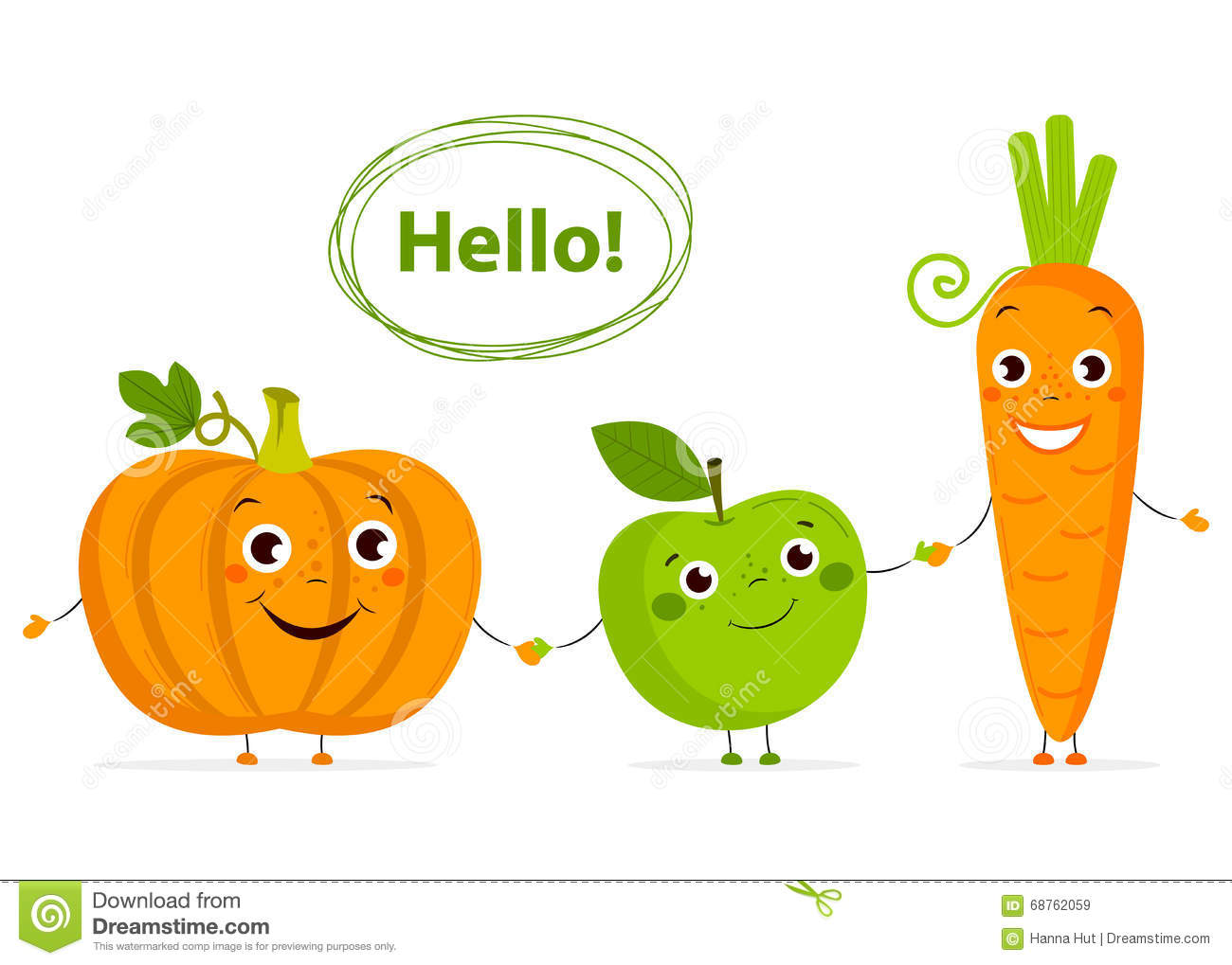 Funny Cartoon Fruits And Vegetables With Eyes In Flat