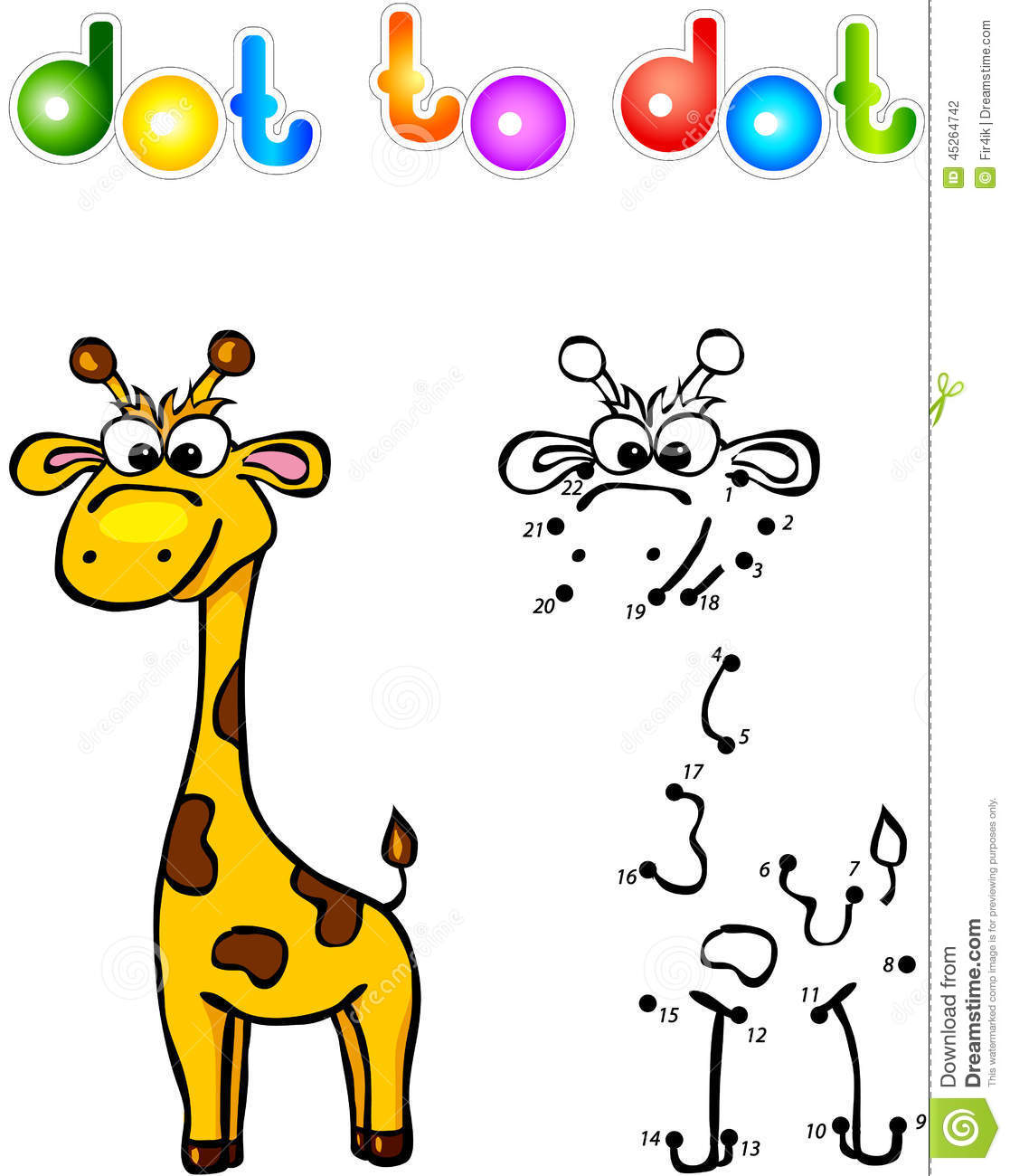 Funny cartoon giraffe dot to dot. Vector illustration for child.