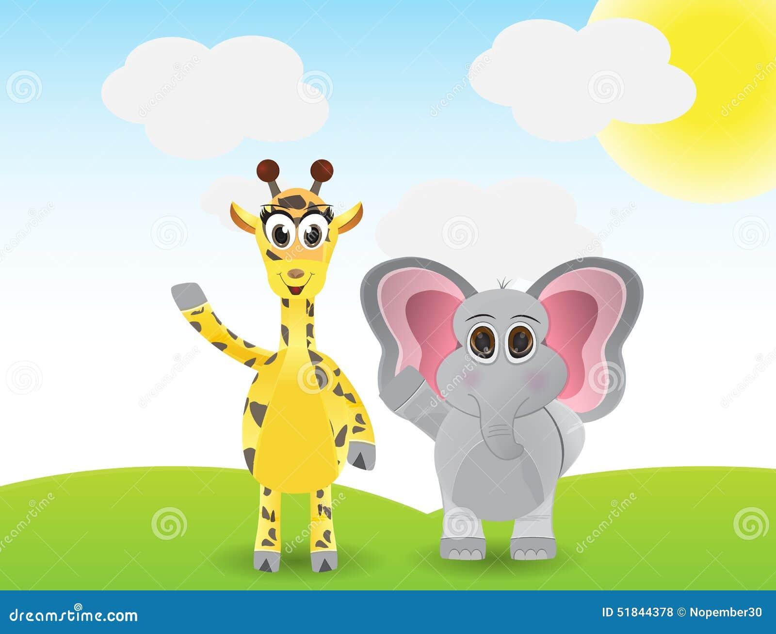 funny cartoon giraffe and elephant stock vector image 51844378