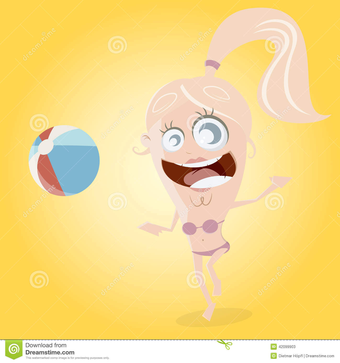 Funny Cartoon Girl Is Playing Beach Ball Stock Vector ...