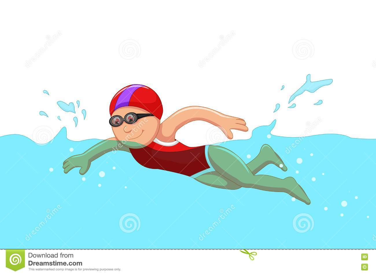 pool splash animated. Funny Cartoon Girl Swimmer In The Swimming Pool. Illustration Of Pool Splash Animated