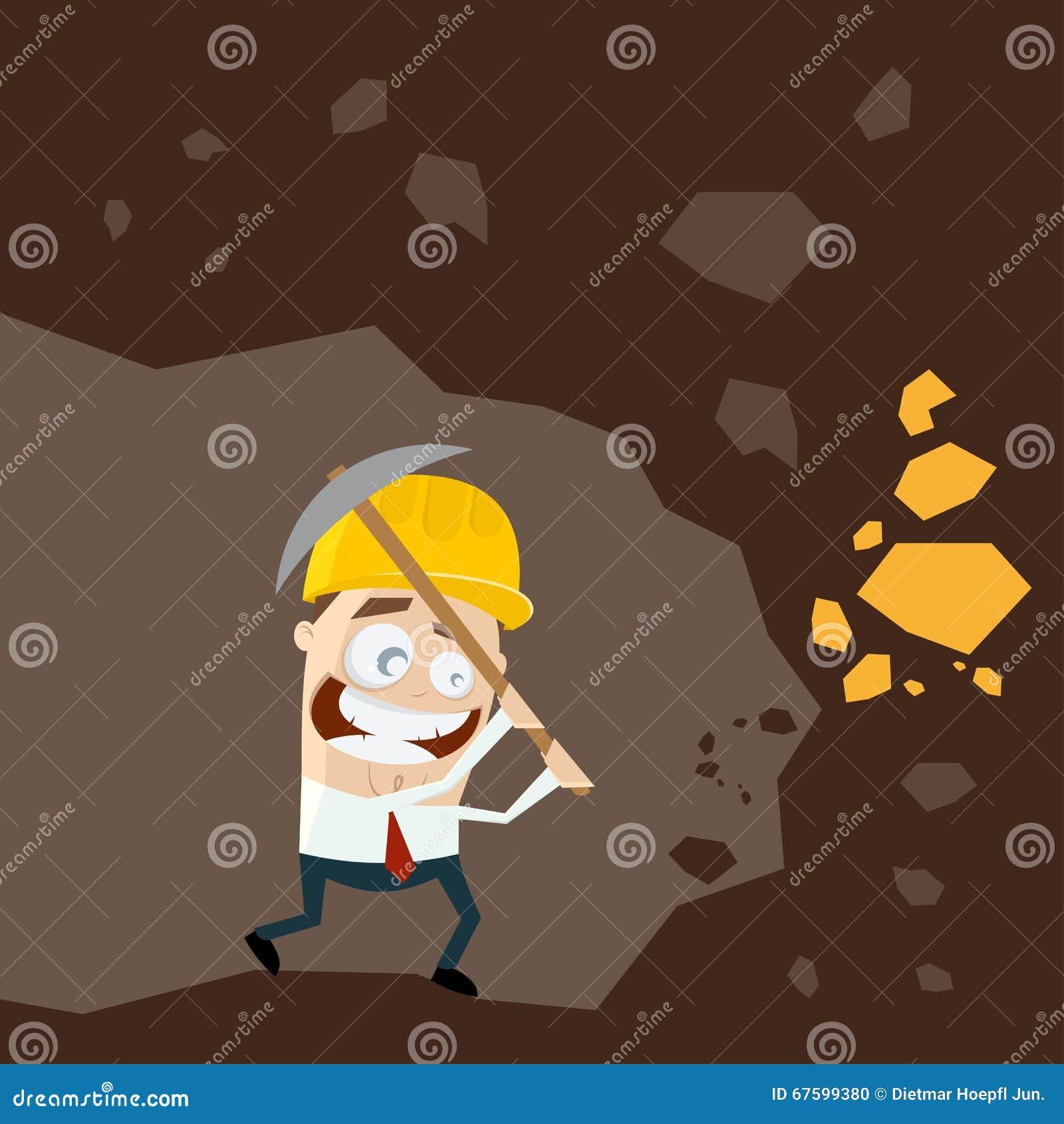 Funny Cartoon Gold Digger Stock Vector Image 67599380