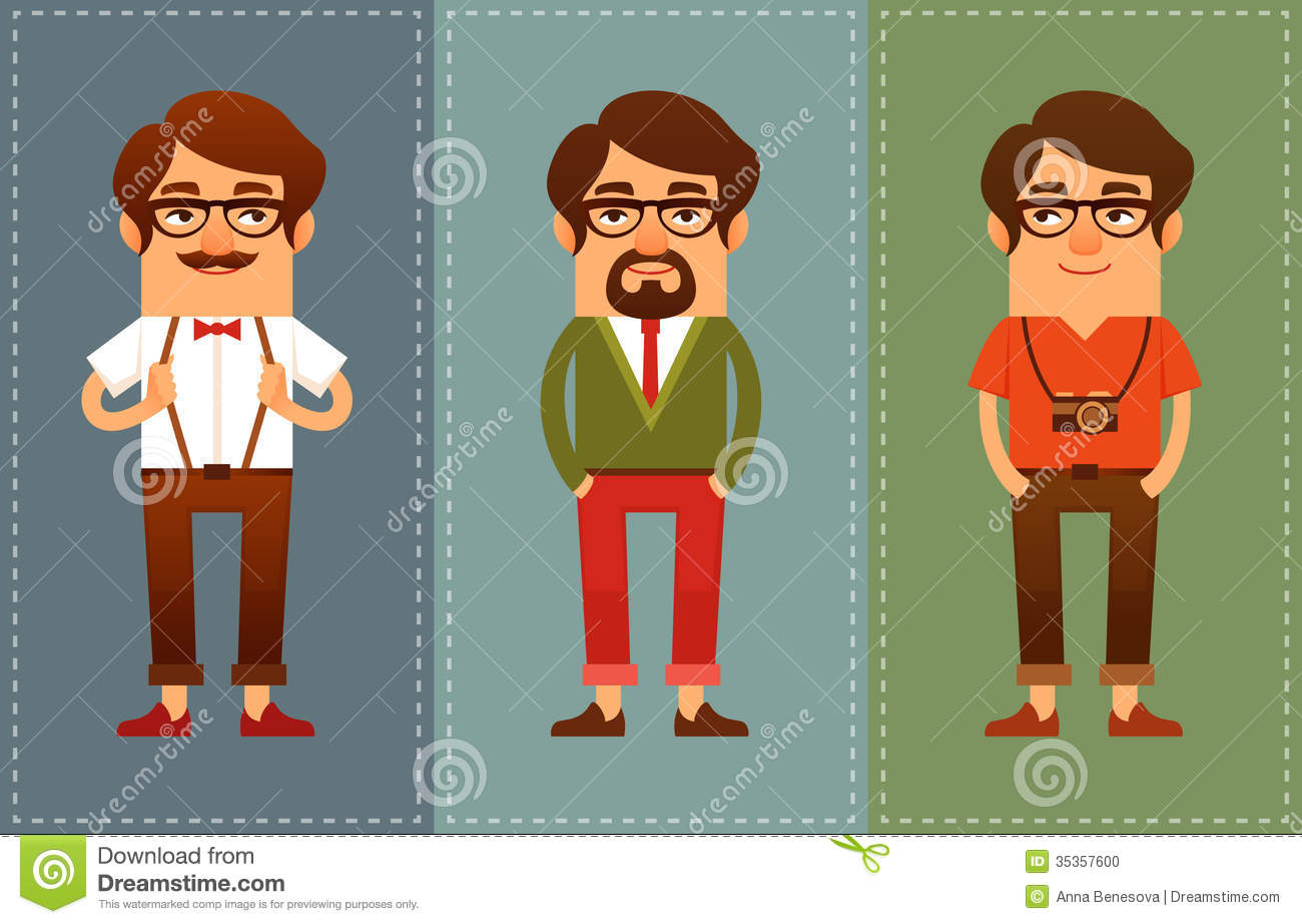 Funny Cartoon Guys In Hipster Fashion Stock Vector - Image ...