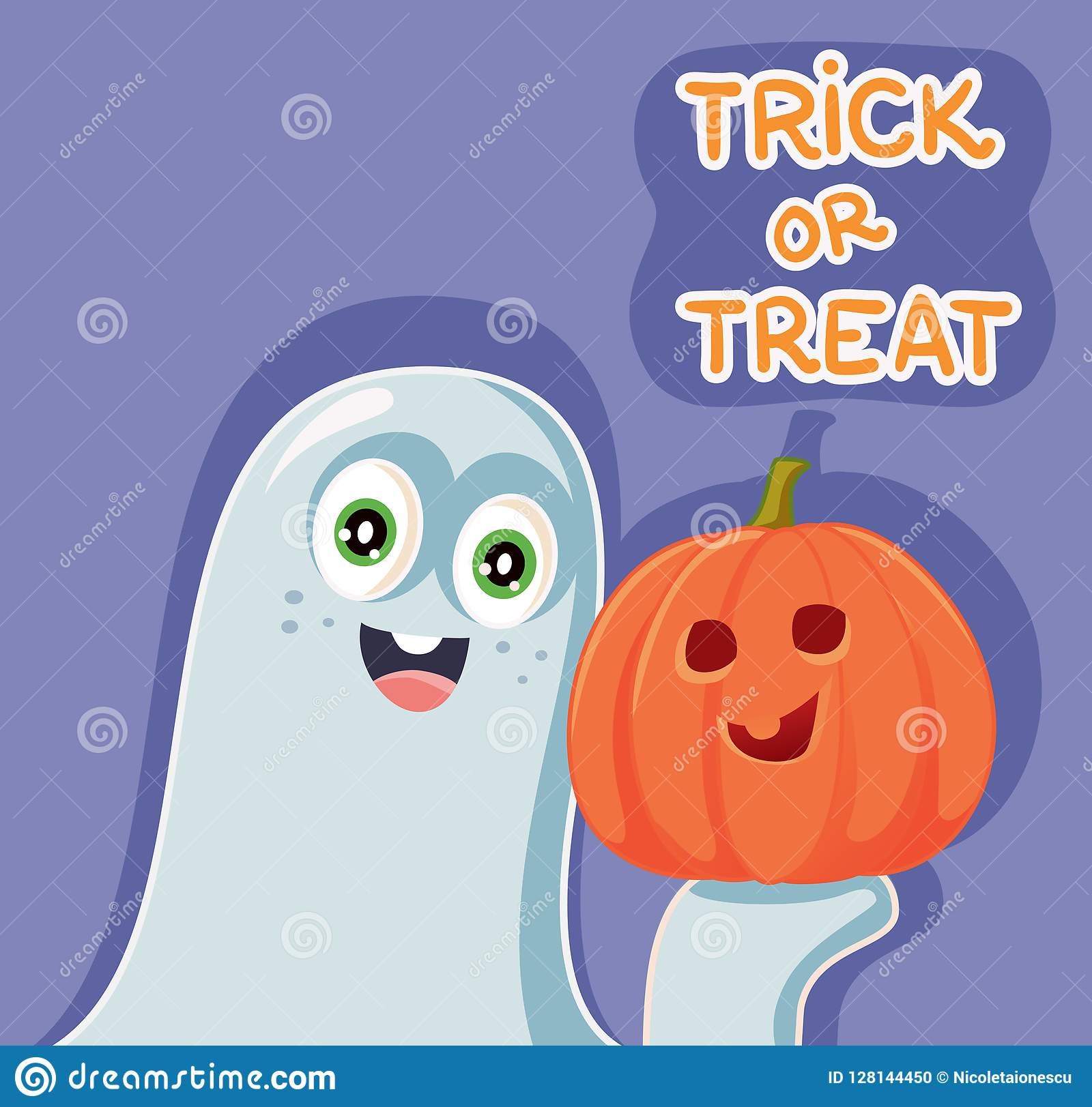 Funny Cartoon Halloween Ghost With Pumpkin Stock Vector