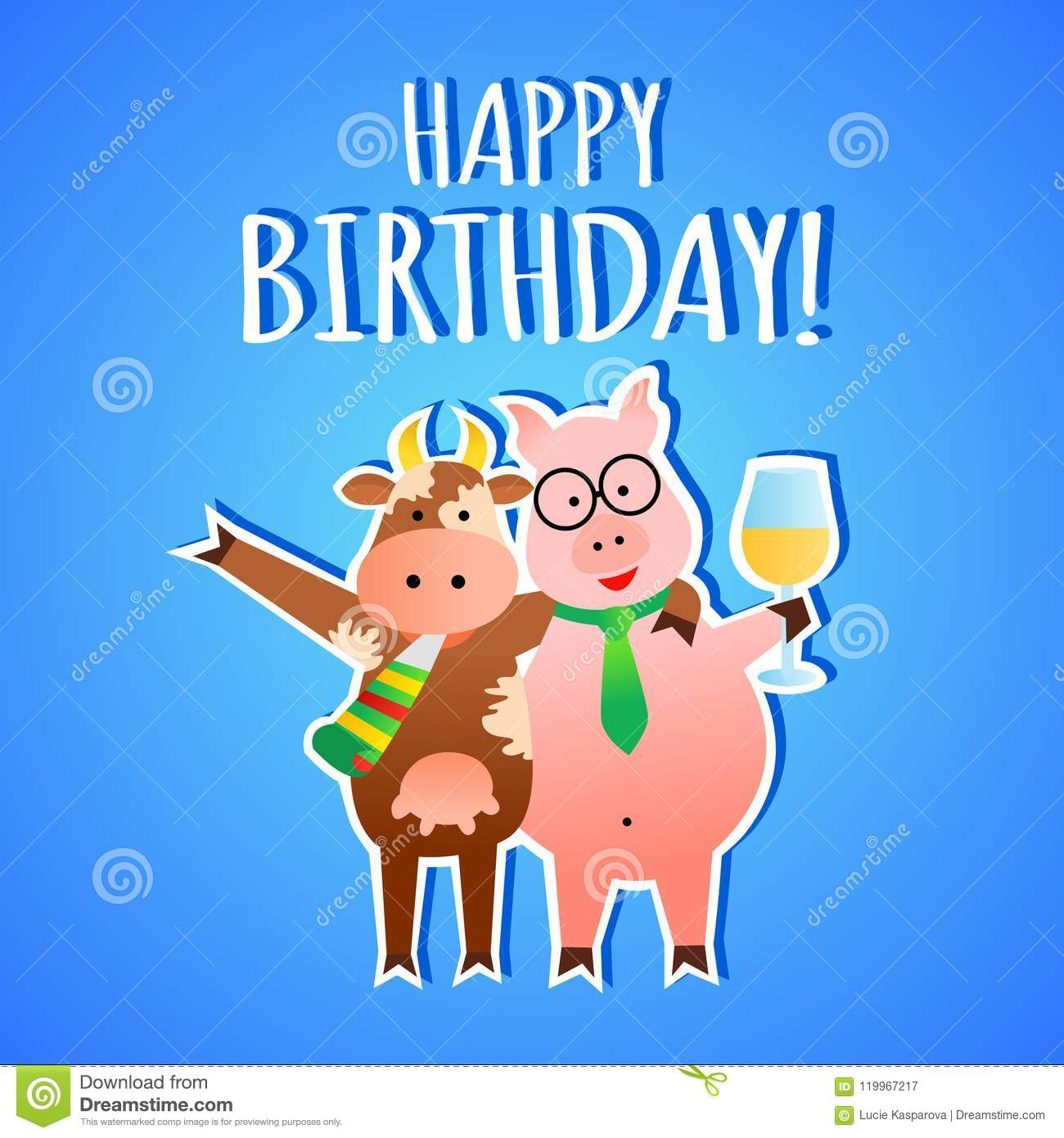 Funny Cartoon Happy Birthday Greeting Card With Pig And Cow Vector Illustration