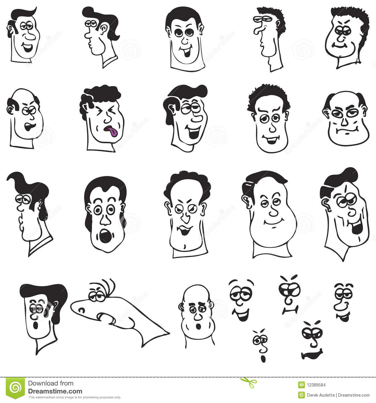 funny cartoon heads and faces stock vector illustration of beach