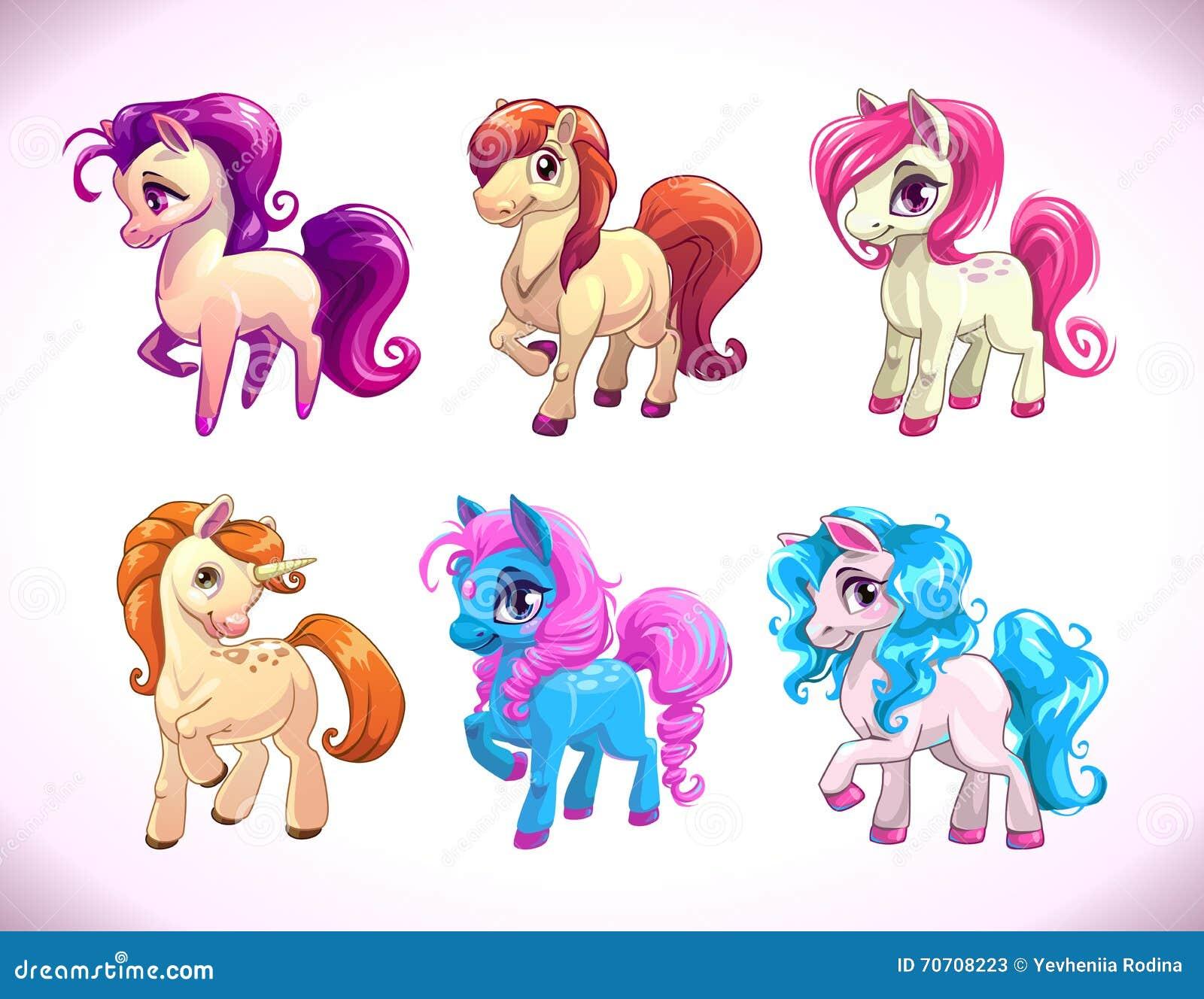 Funny Cartoon Horse Characters Stock Vector Illustration Of Pretty Animal 70708223