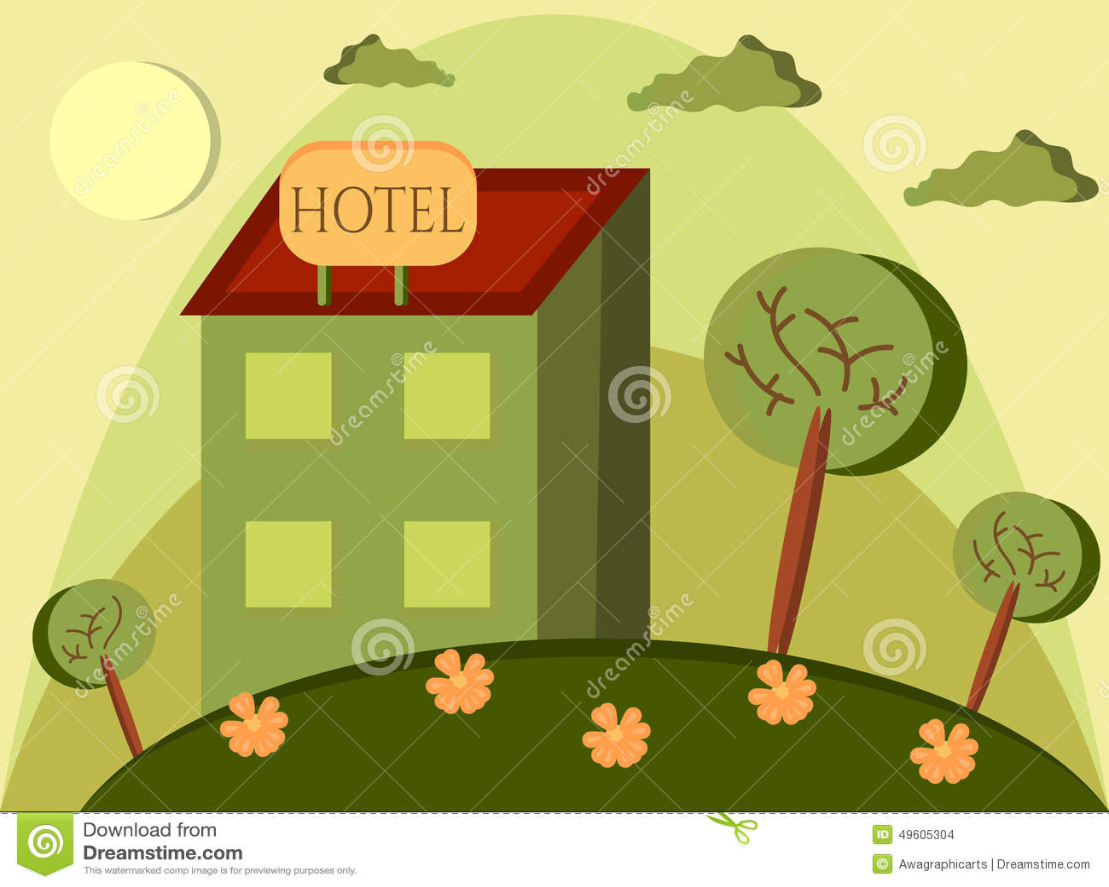Funny Cartoon Of Hotel Stock Vector - Image: 49605304