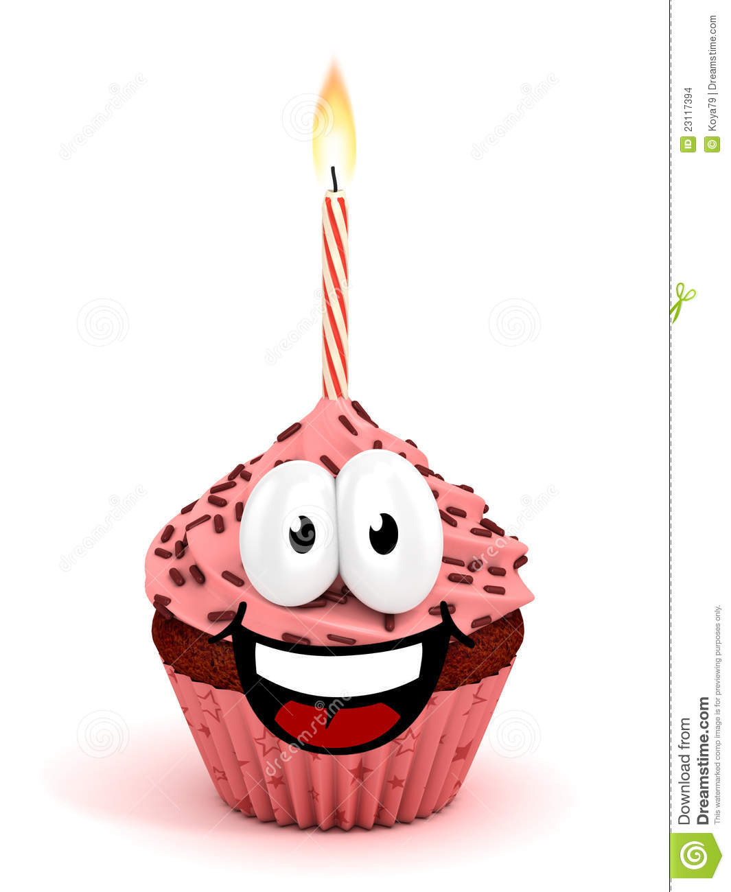 Funny Cartoon Like Cupcake 3d Rendering Stock Illustration