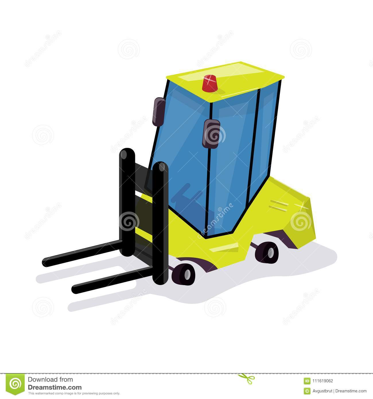 Funny cartoon loader. Equipment for the warehouse.