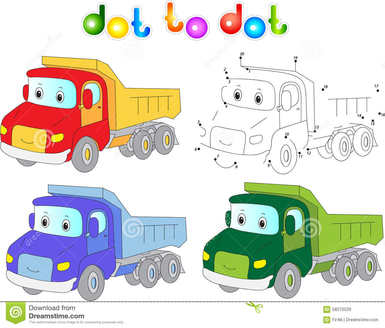 funny cartoon lorry  connect dots and get image  educational gam stock vector