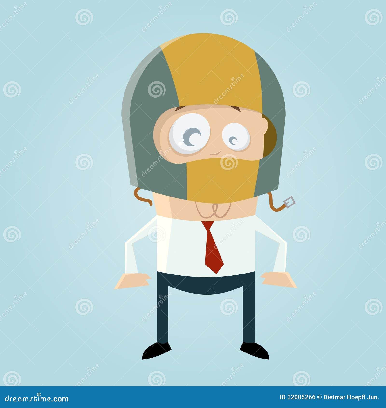 Funny Cartoon Man With Crash Helmet Stock Vector - Image ...