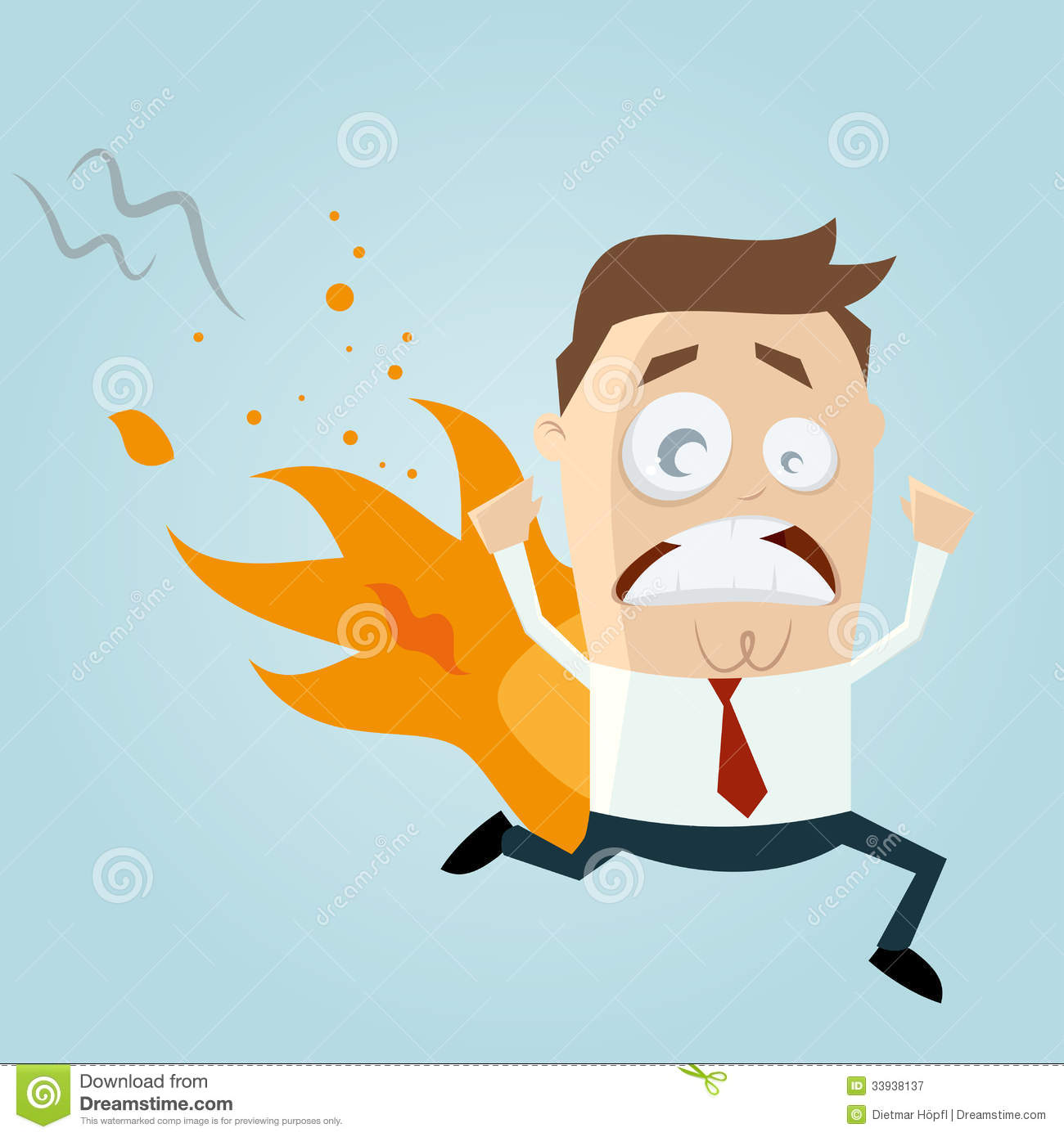 Funny Cartoon Man Is On Fire Royalty Free Stock Photography - Image ...