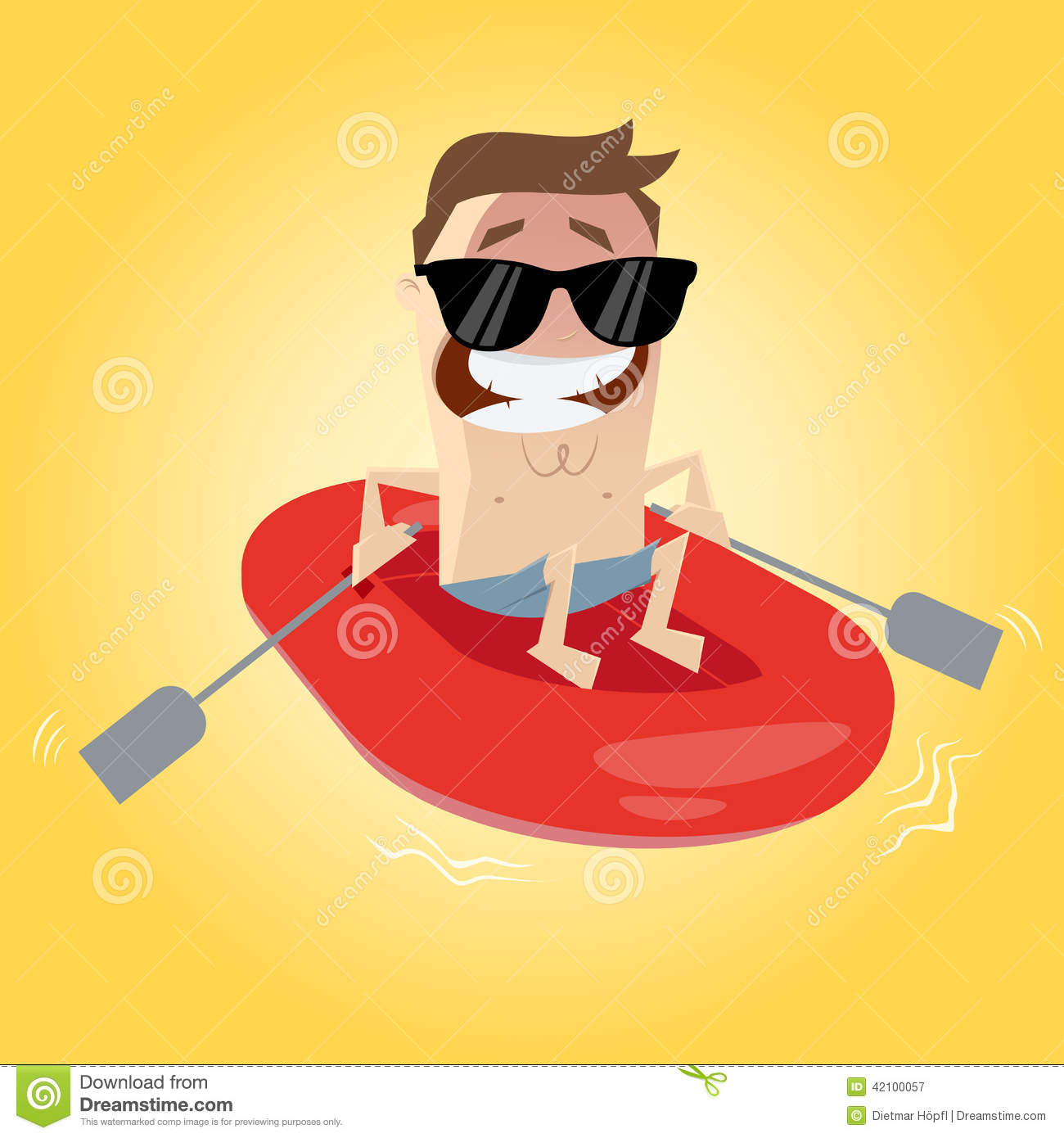 Funny Cartoon Man In Rubber Boat Stock Vector Image