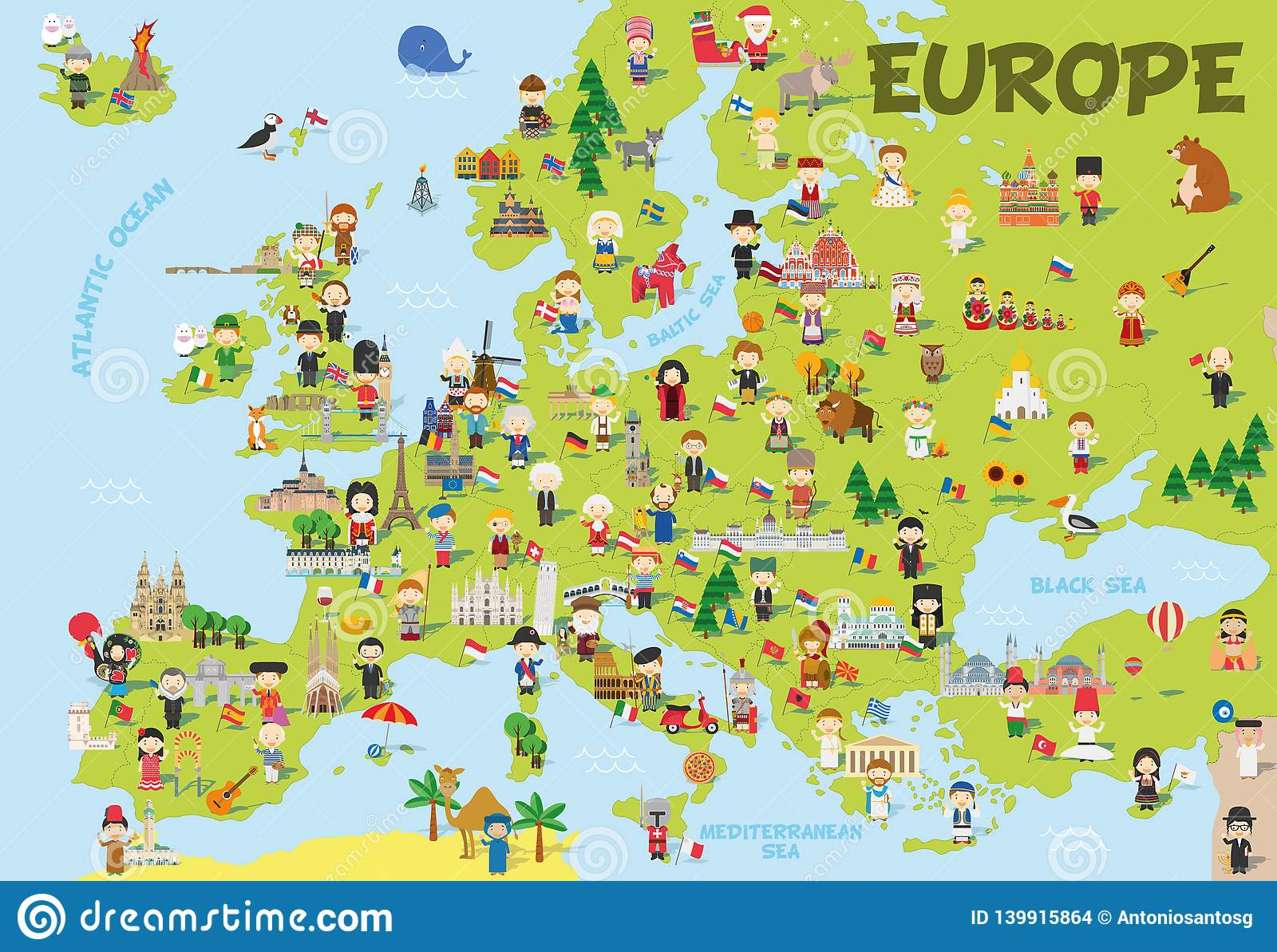Funny Cartoon Map Of Europe With Childrens, Representative ...