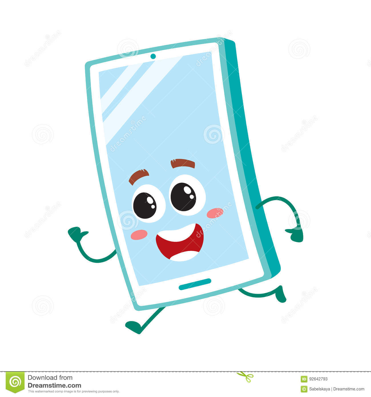 Funny Cartoon Mobile Phone Smartphone Character Running Hurrying Somewhere Stock Vector Illustration Of Mascot Cell 92642793