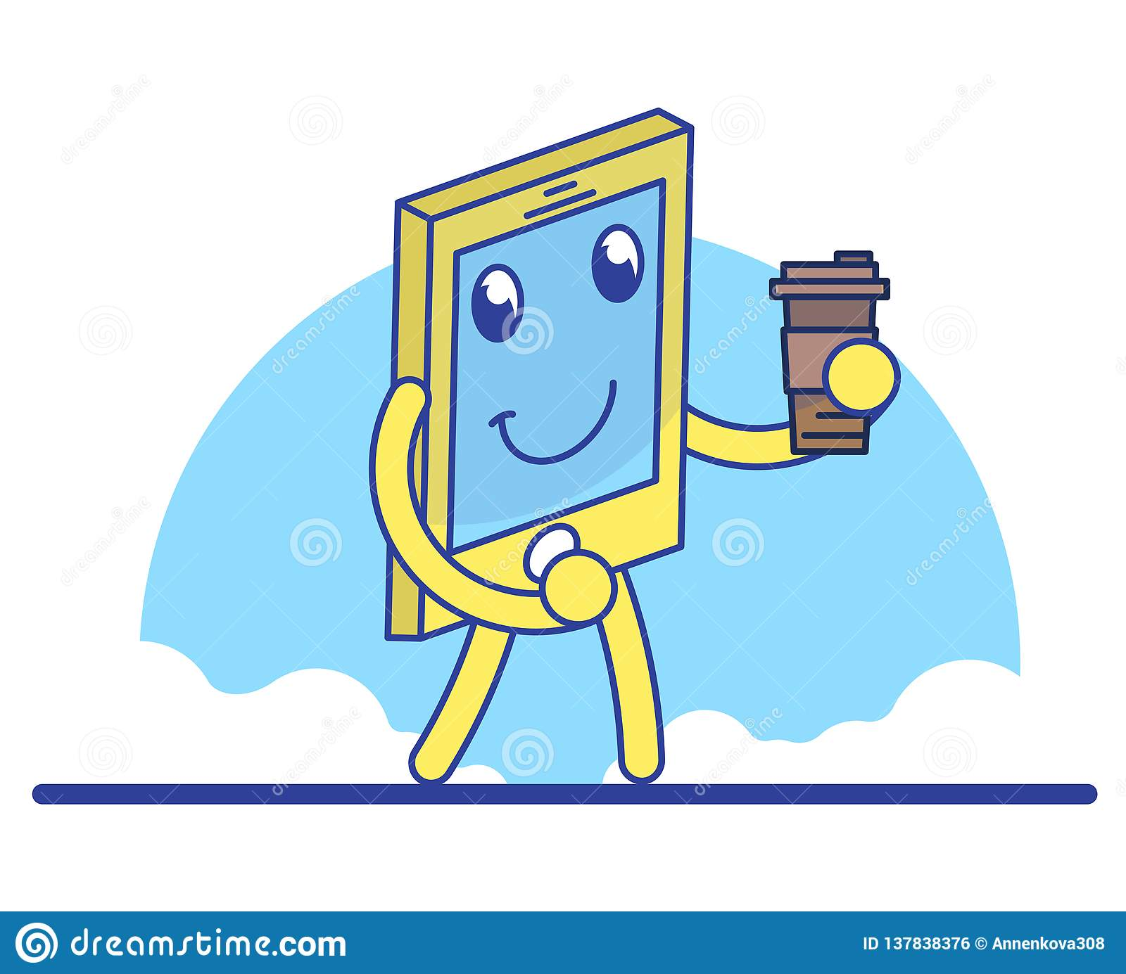 Funny Cartoon Mobile Phone Stock Vector Illustration Of Cellphone 137838376