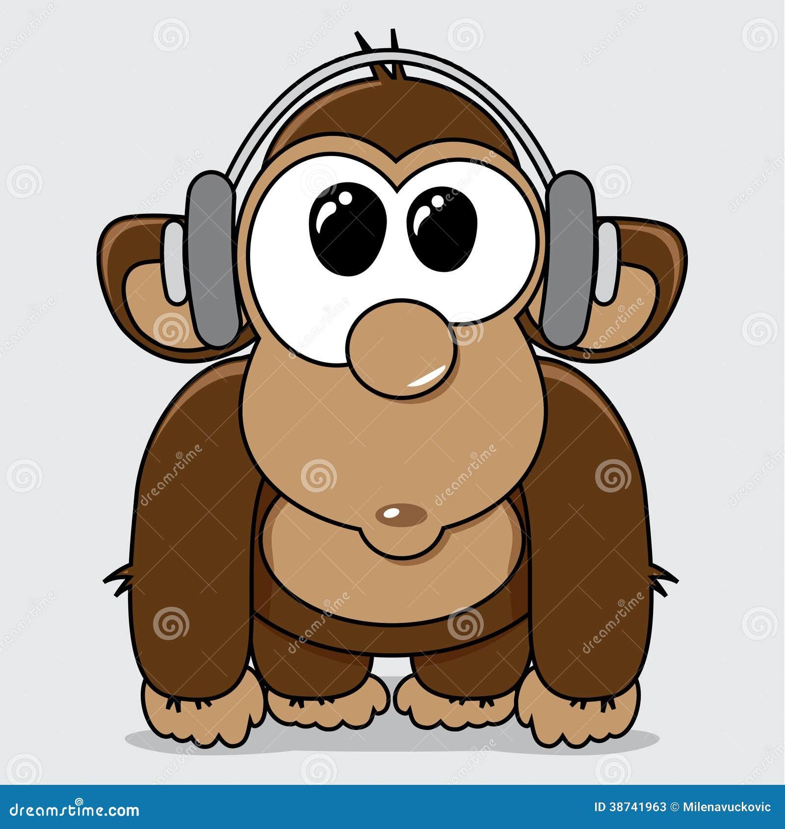 Funny Cartoon Monkey With Headphones Stock Vector