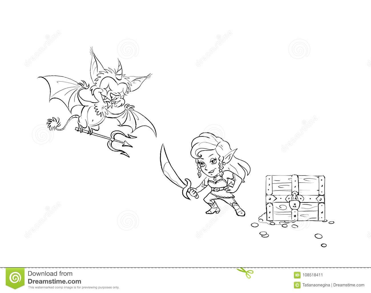 Funny Cartoon Monster And Elf Girl With The Sword Isolated Cartoon ...