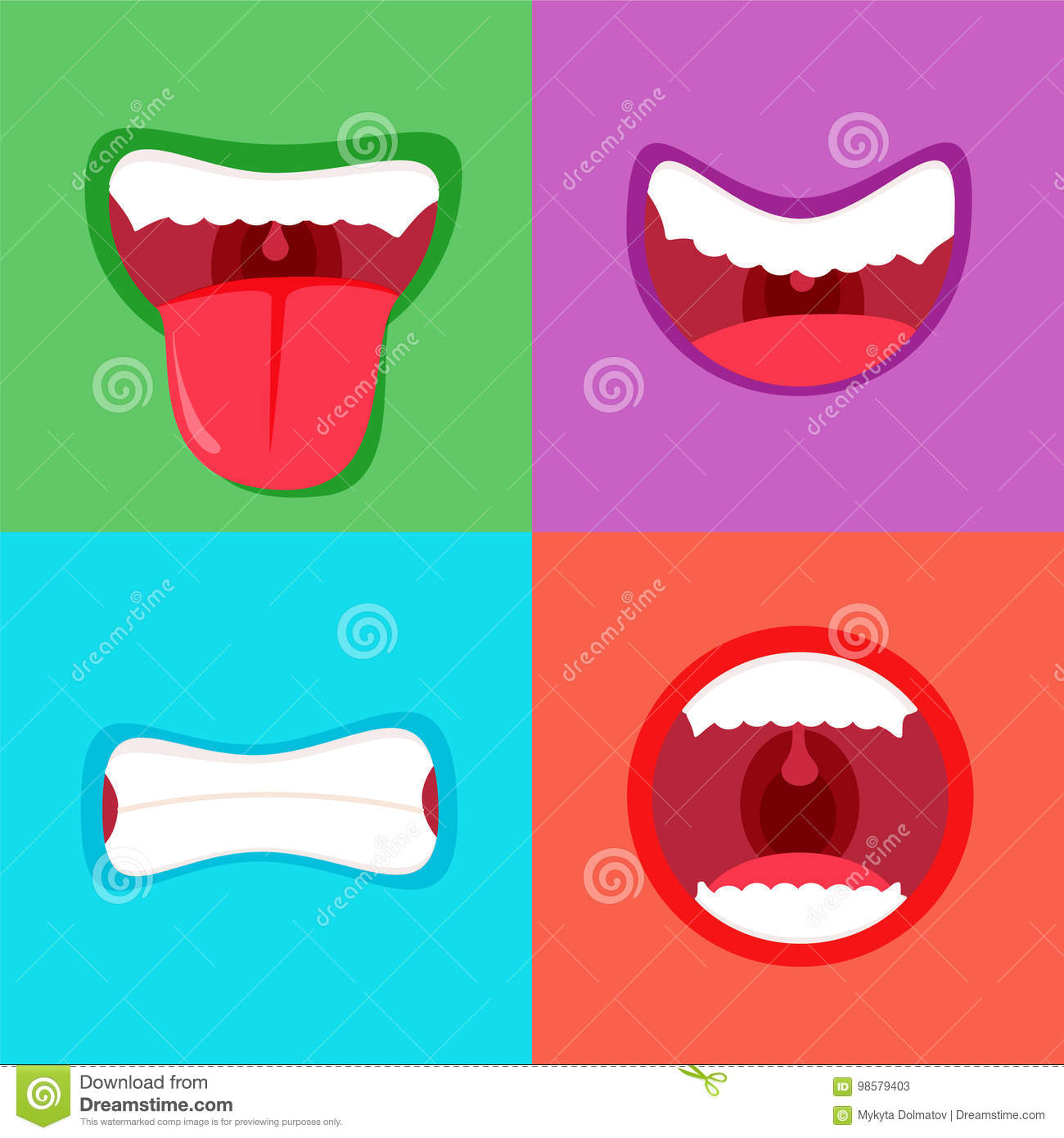 funny cartoon monster mouth sticking out tongue simple and cute