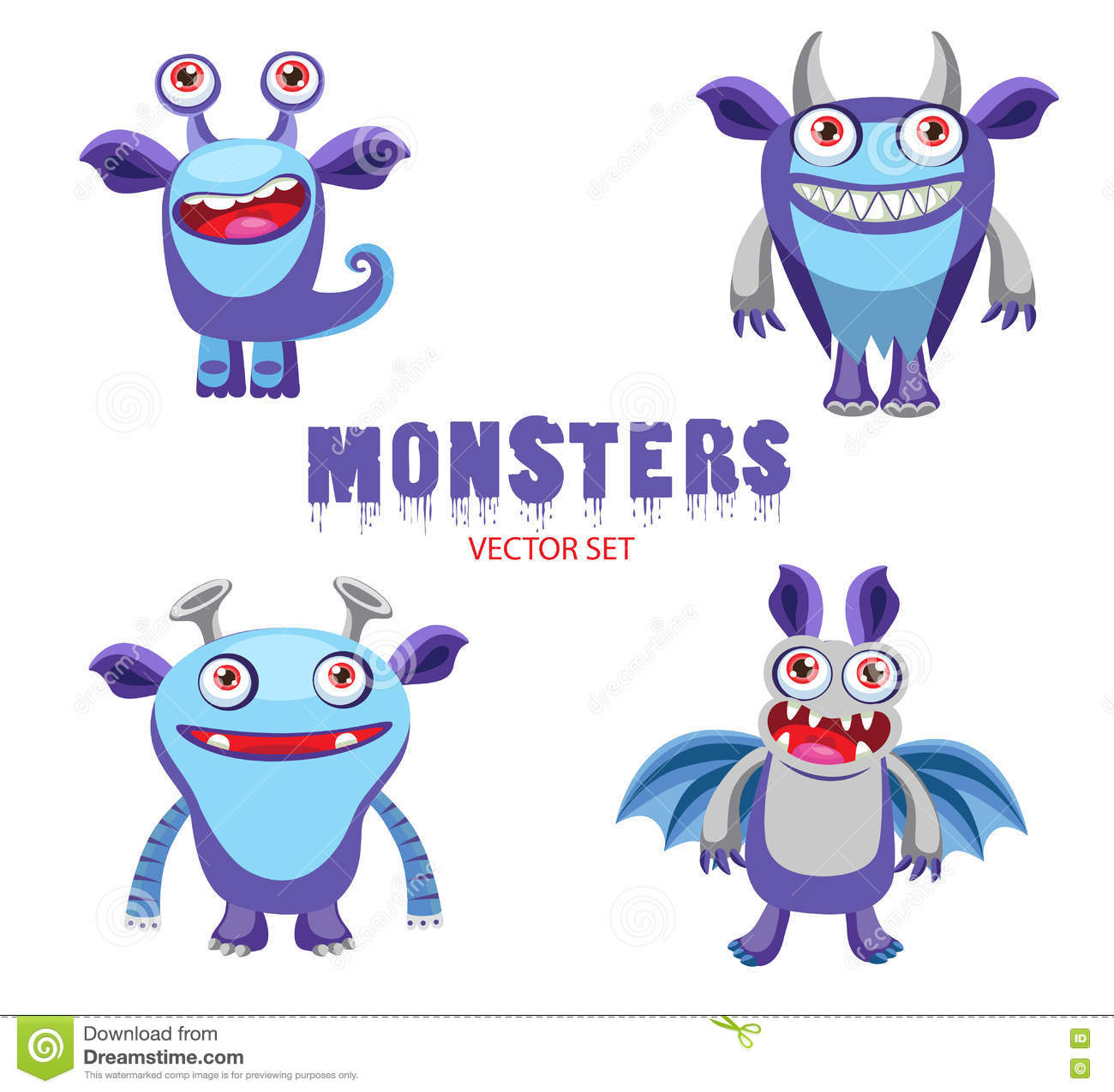 Funny Cartoon Monsters Characters Halloween Monsters For Kids Cute