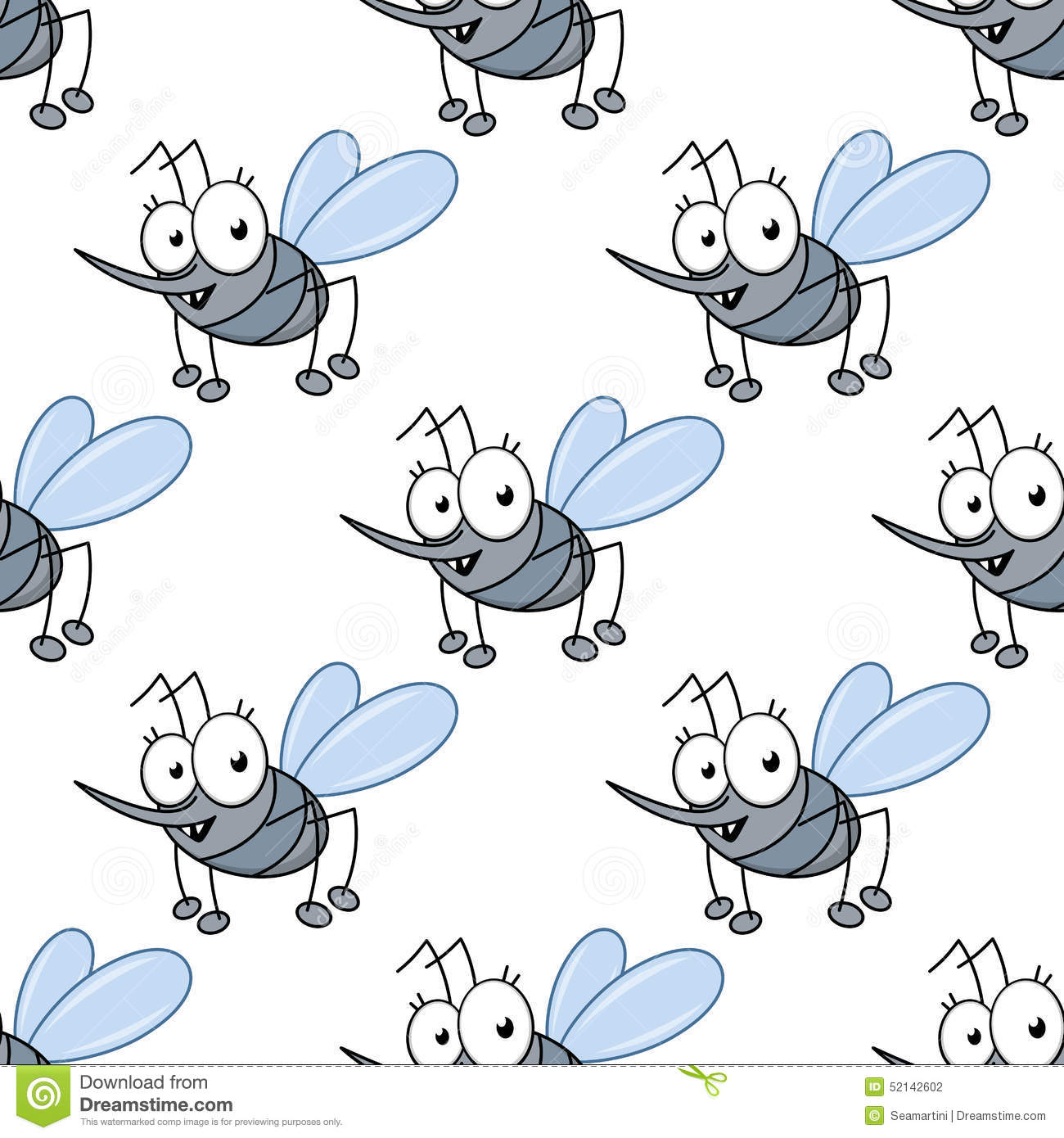 Funny cartoon mosquitos seamless pattern