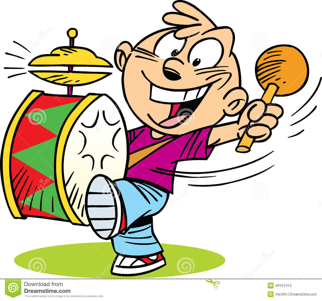 The following illustration shows cartoon boy who play on drum.