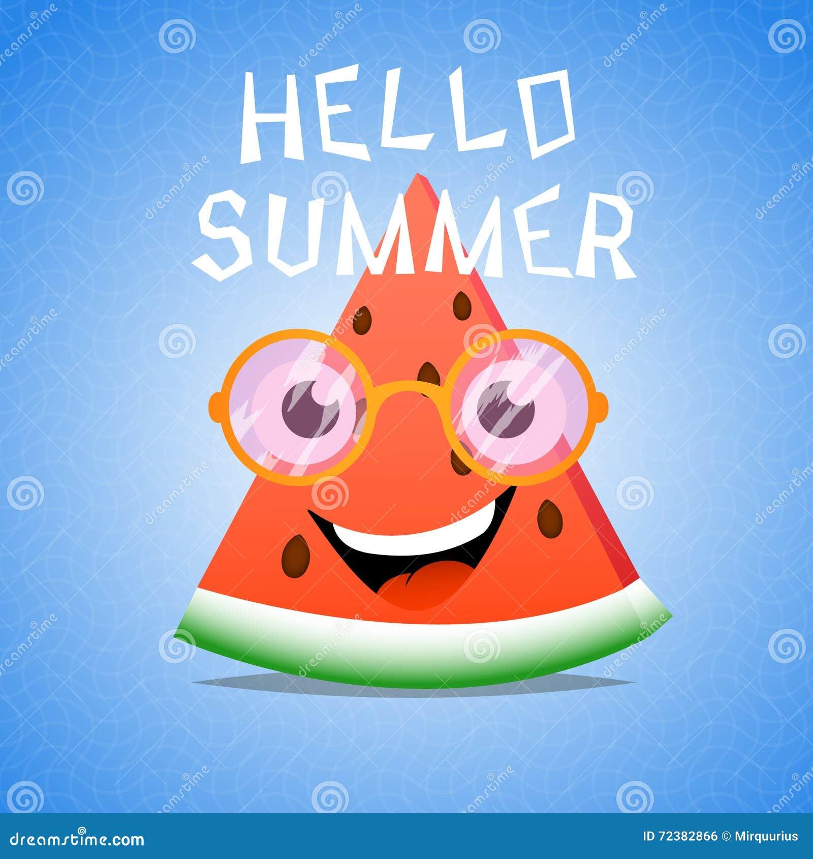Funny Cartoon Piece Of Watermelon Stock Vector - Image: 72382866