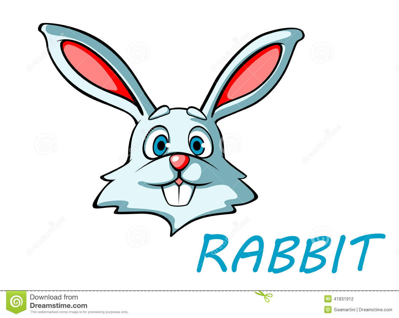 Funny cartoon rabbit or hare head for mascot or easter holiday design.