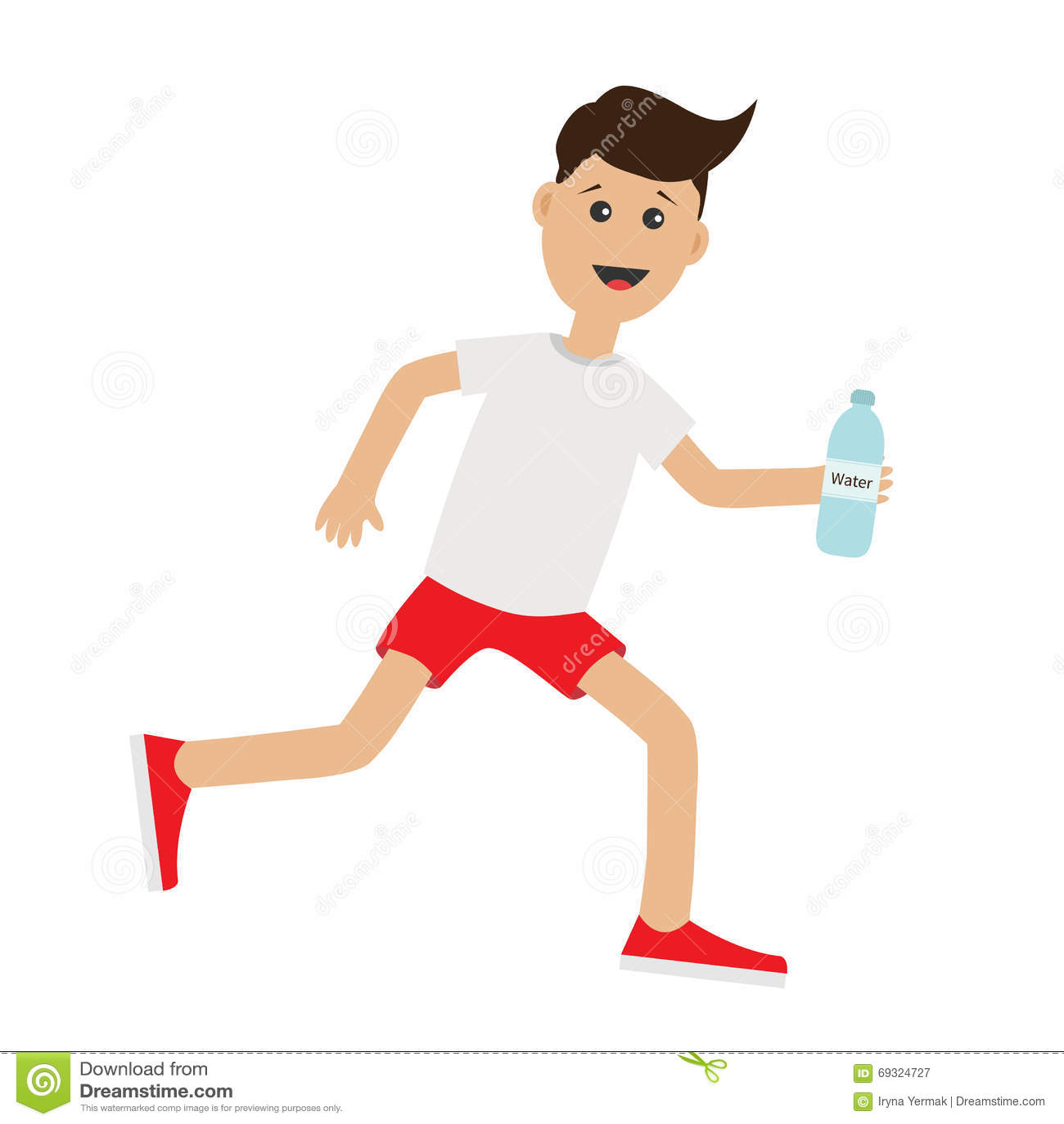 Funny Cartoon Running Guy Holding Water Bottle. Cute Run ...