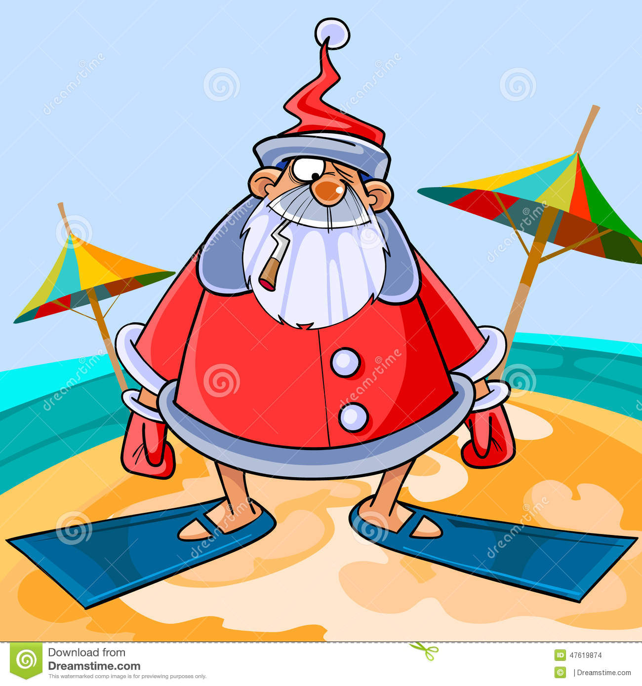 Funny Cartoon Santa Claus Wearing Flippers On The Beach Stock Vector ...