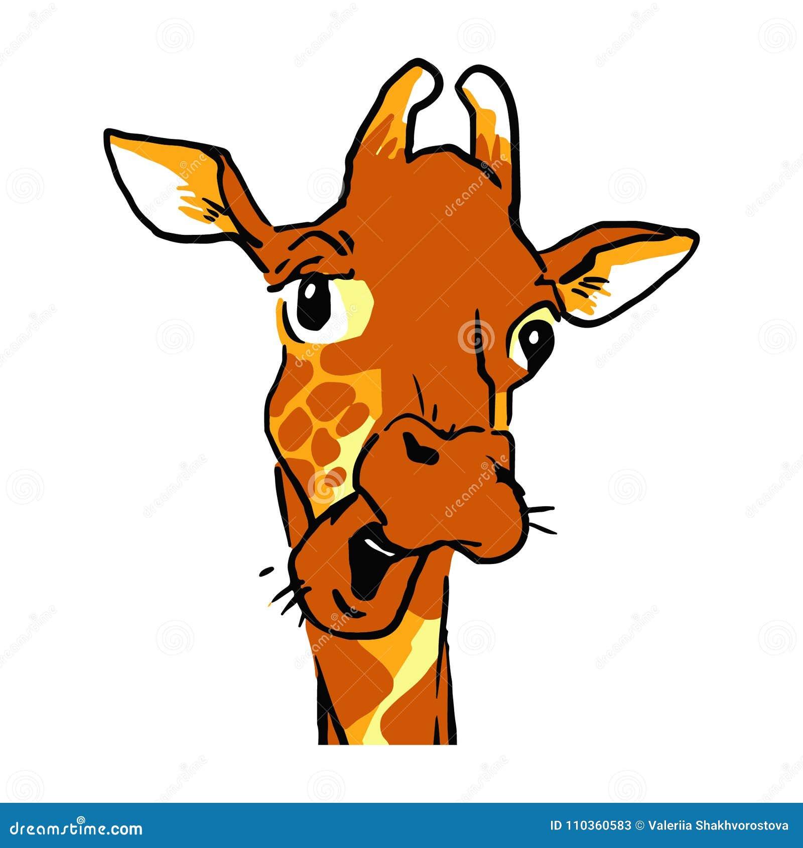funny cartoon talking giraffe headshot emotion face of a giraffe