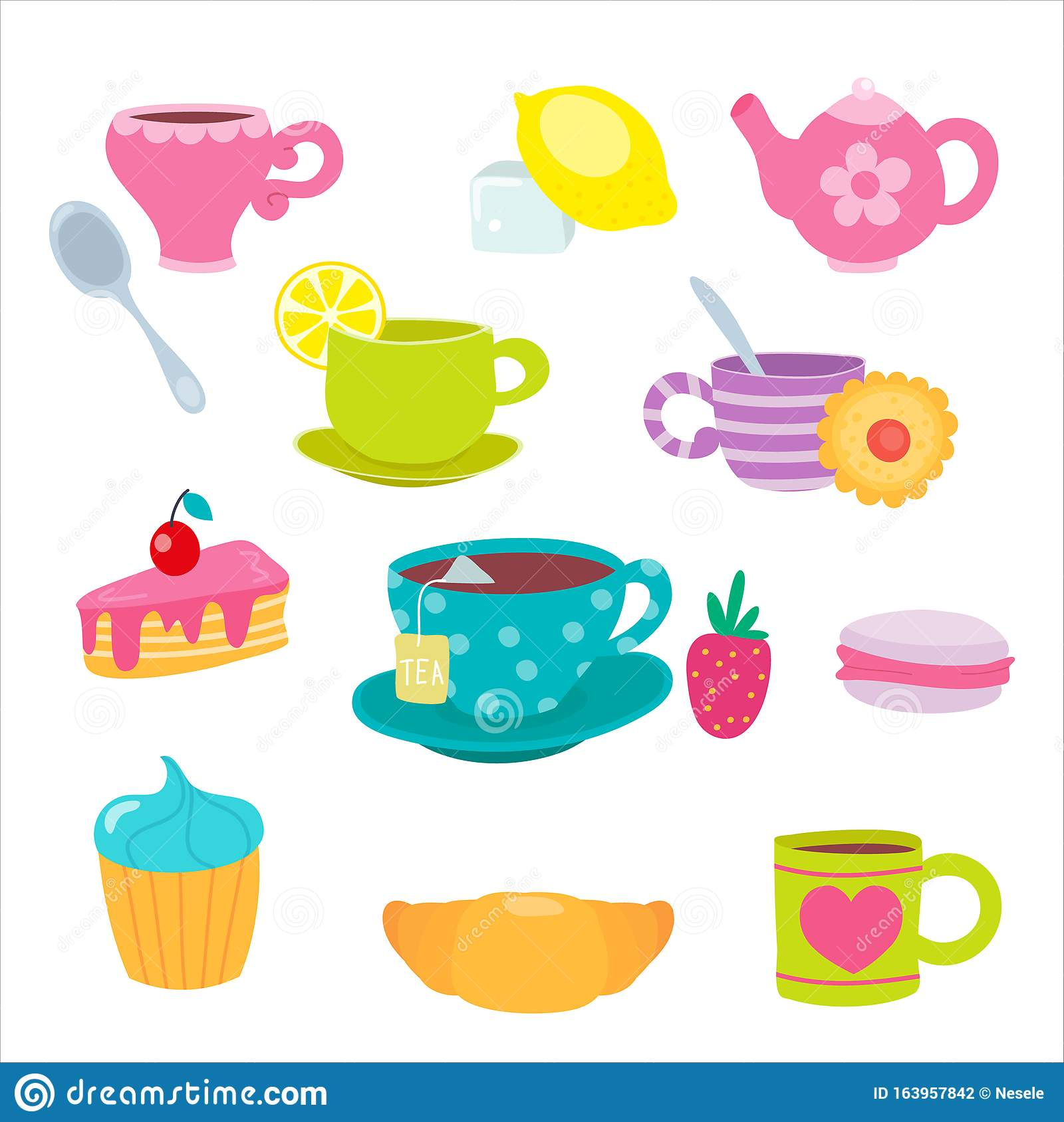Funny Cartoon Tea Cup Cute Mugs And Sweets Teacups And Teapot Cake And Macaroon Vector Illustration Cartoon Flat Stock Vector Illustration Of Cake Funny 163957842