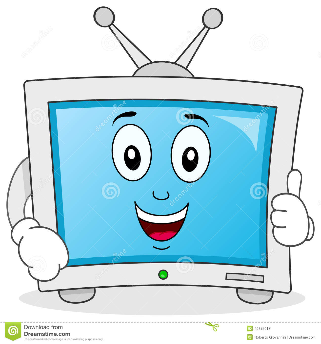 Funny Cartoon Television Character Stock Vector Illustration Of