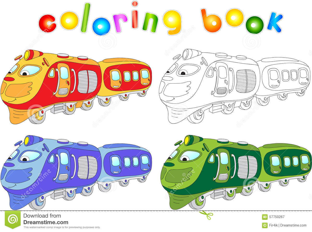 funny cartoon train coloring book for children stock vector