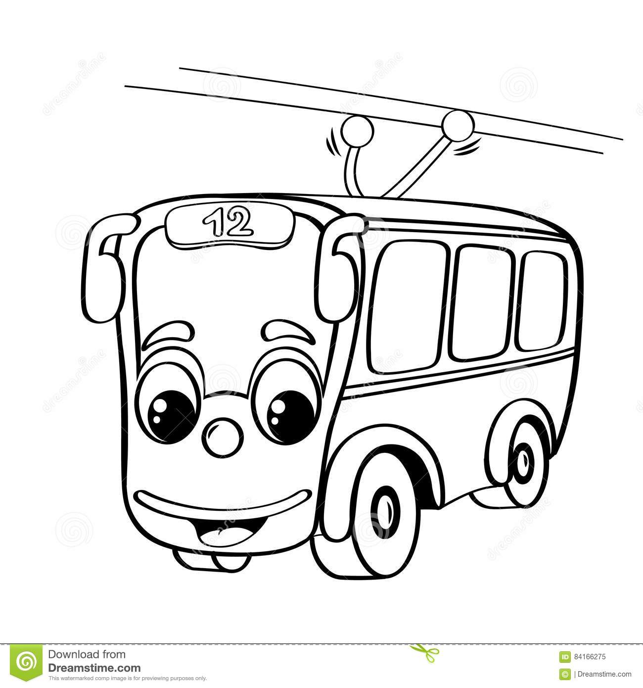 funny cartoon trolleybus stock vector  illustration of