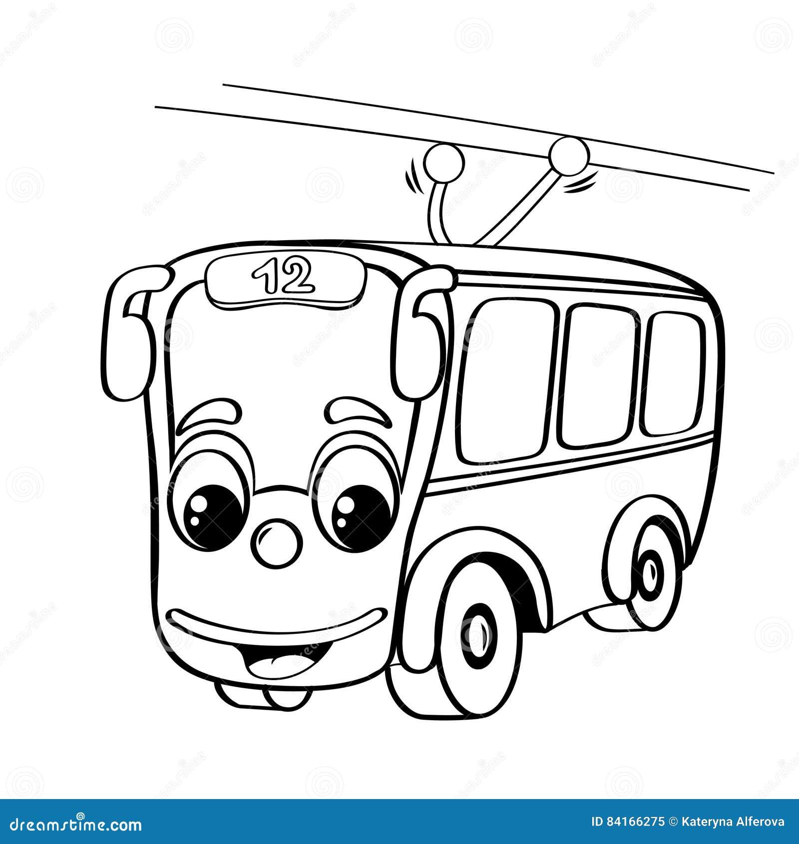 funny cartoon trolleybus stock vector  illustration of