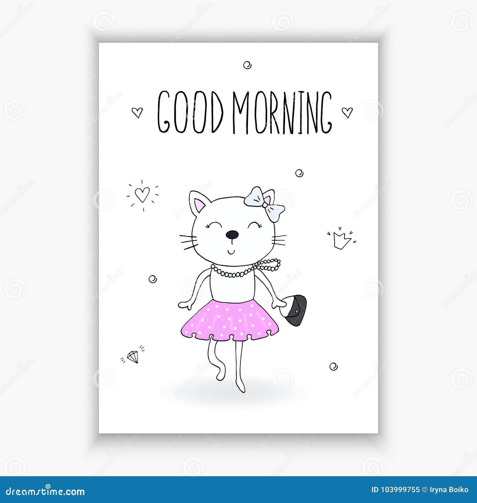Funny Cartoon Vector Cat Print Good Morning Card Stock Vector