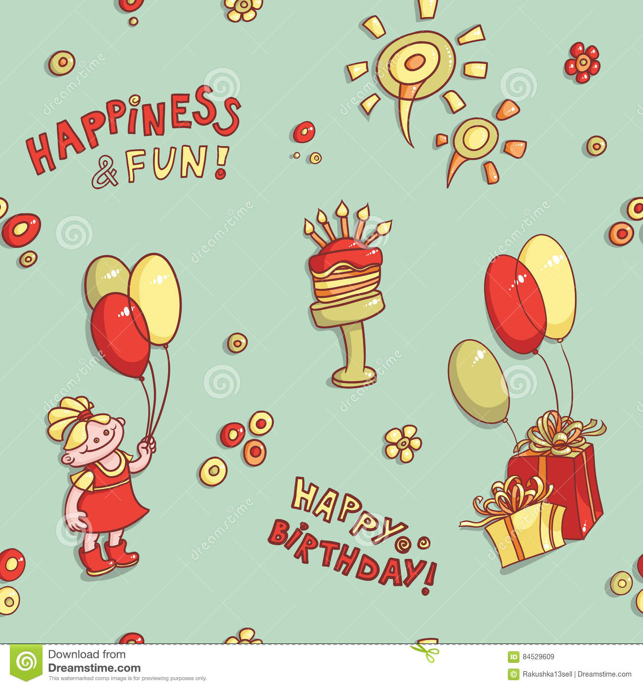 Funny Cartoon Vector Seamless Pattern Birthday Greeting Happiness And Fun Hand Drawn Retro Cake With Candles Flowers Girl Balloons