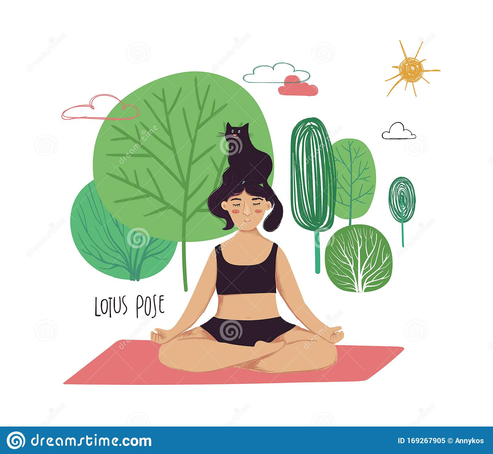 Girl Doing Lotus Yoga Pose With Cat Stock Vector Illustration Of Body Asana 169267905